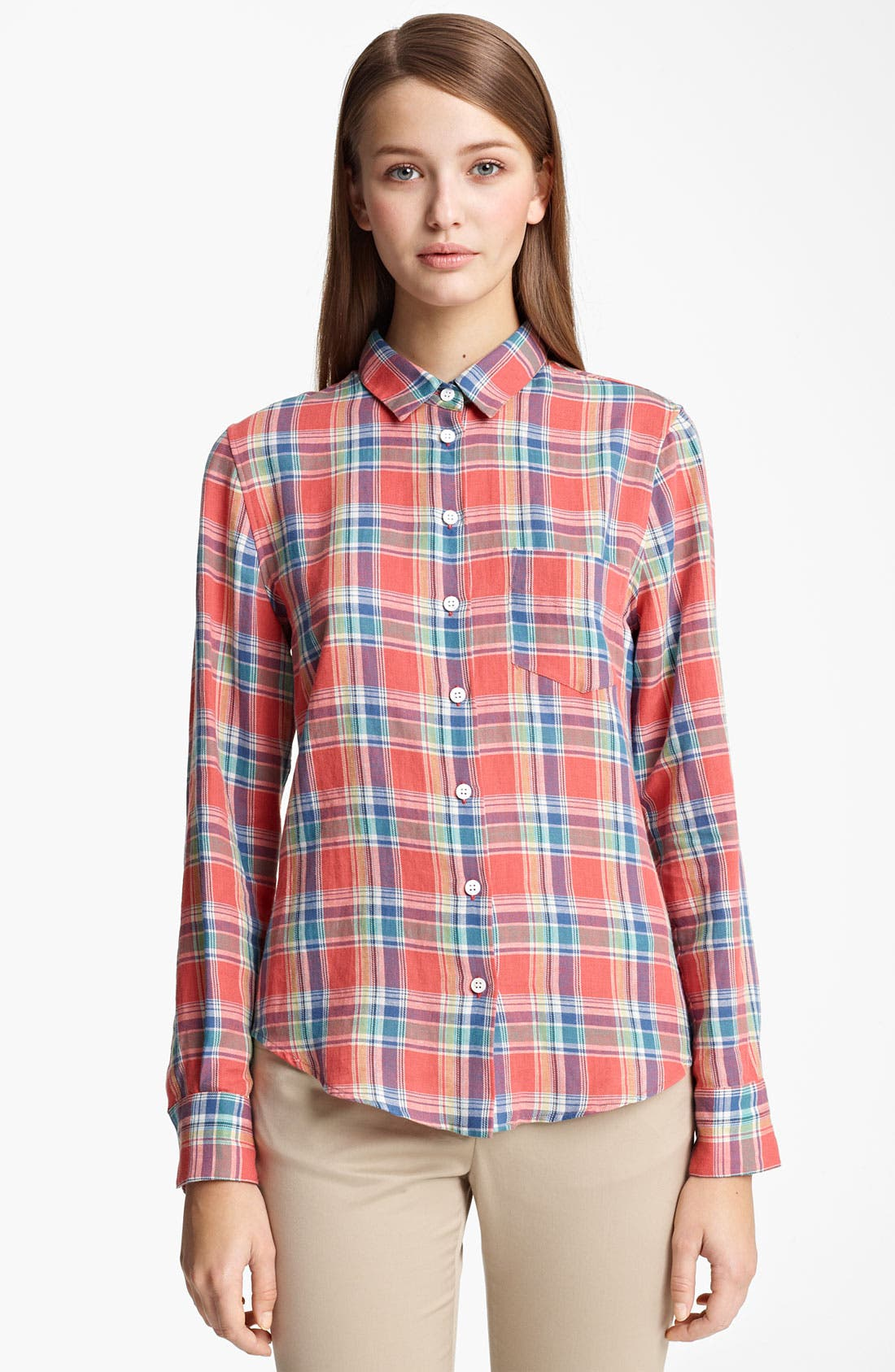 Alternate Image 1 Selected - Band of Outsiders Madras Plaid Shirt