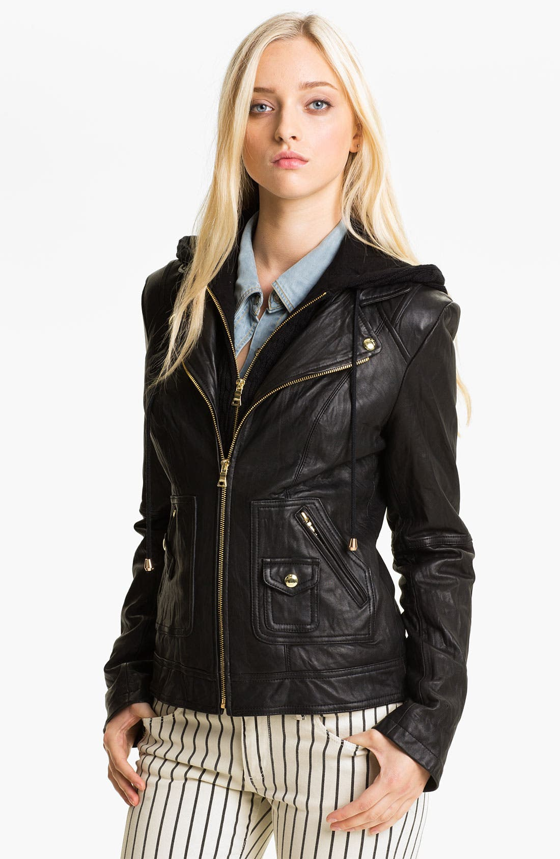 Main Image - GUESS Cable Knit Inset Leather Jacket