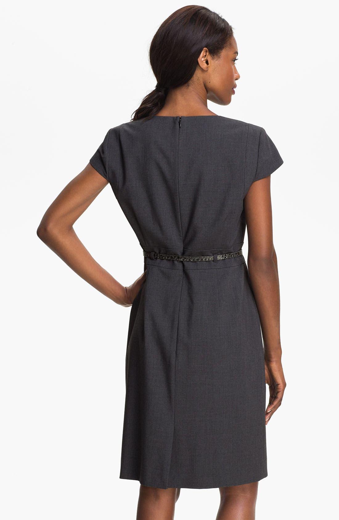 Alternate Image 2  - Tahari 'Shelly' Ruffle Front Belted Sheath Dress