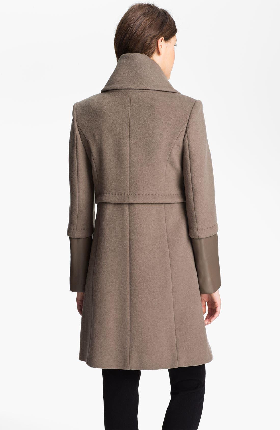 Alternate Image 2  - Elie Tahari Leather Trim Wool Coat