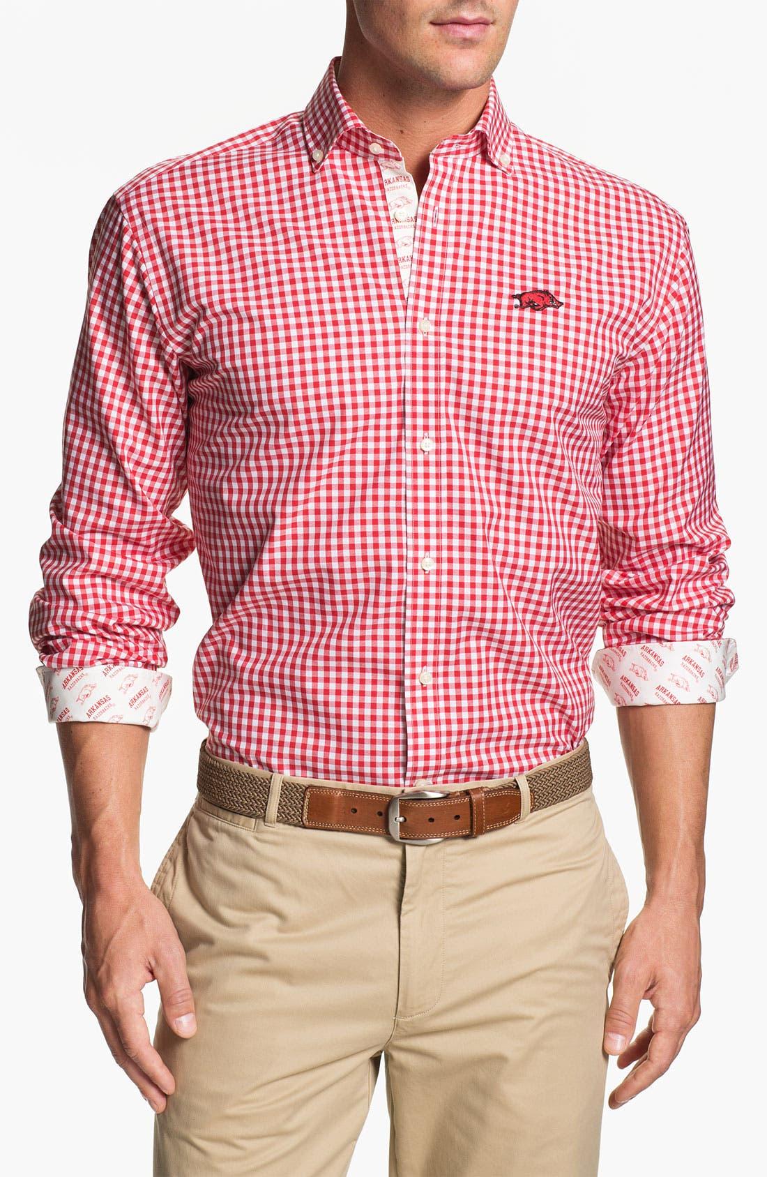 Alternate Image 1 Selected - Thomas Dean 'University of Arkansas' Regular Fit Gingham Sport Shirt