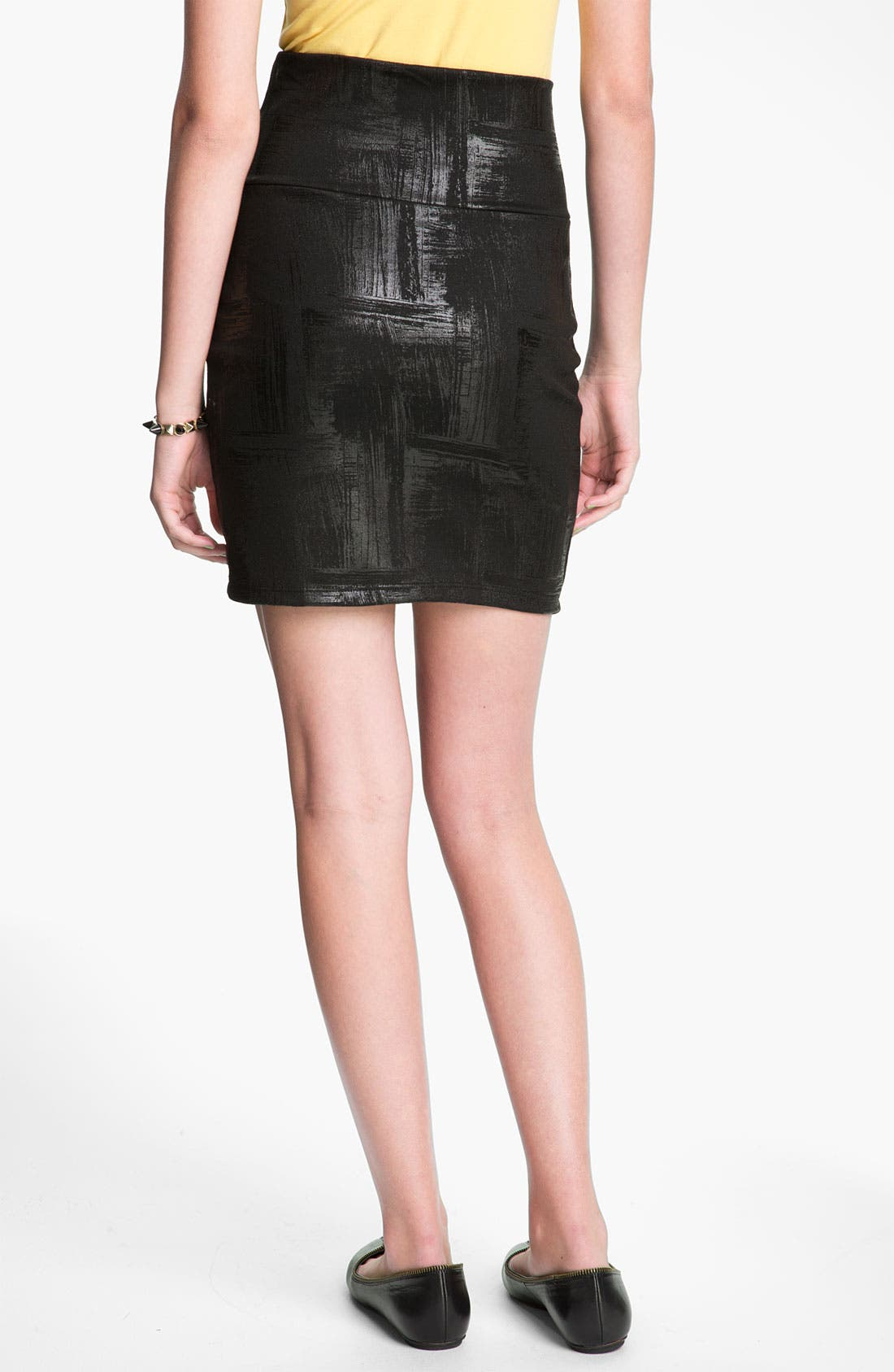 Alternate Image 2  - Lily White 'Brushed Coated' Pencil Skirt (Juniors)