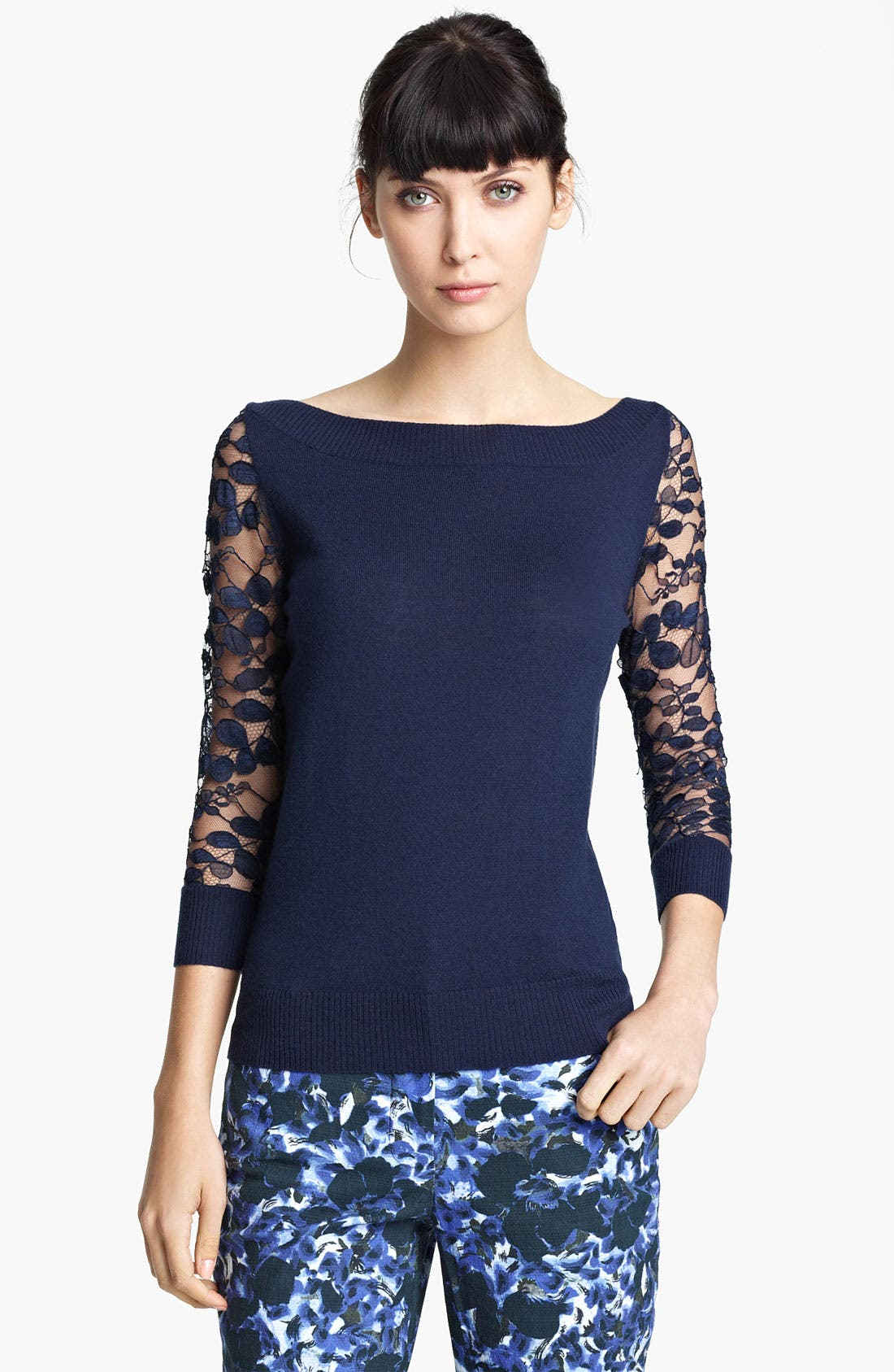 Alternate Image 1 Selected - Erdem Lace Sleeve Knit Top