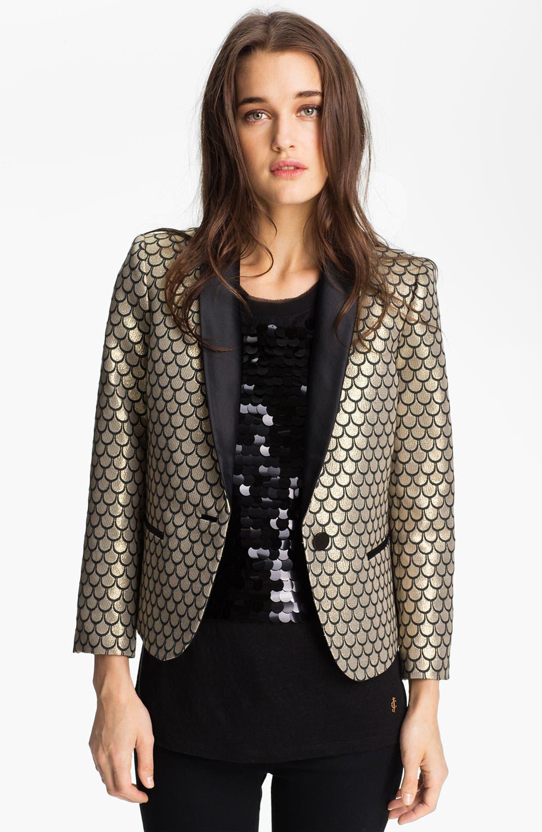 Main Image - Juicy Couture Metallic Fishscale Jacquard Jacket