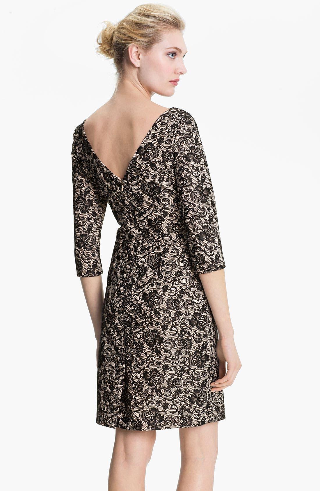 Alternate Image 2  - Kay Unger V-Back Ruched Lace Jacquard Dress