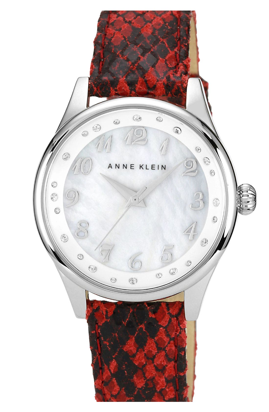 Alternate Image 1 Selected - Anne Klein Snake Embossed Leather Strap Watch