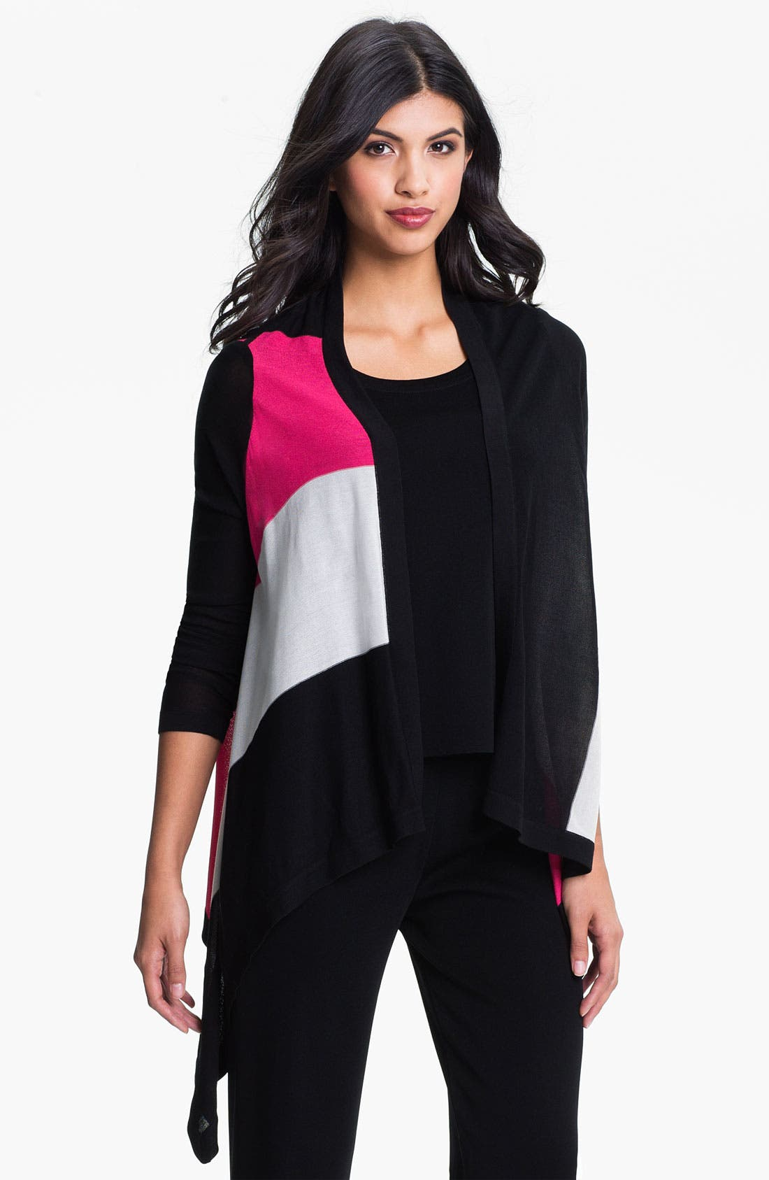 Main Image - Exclusively Misook Open Front Colorblock Cardigan