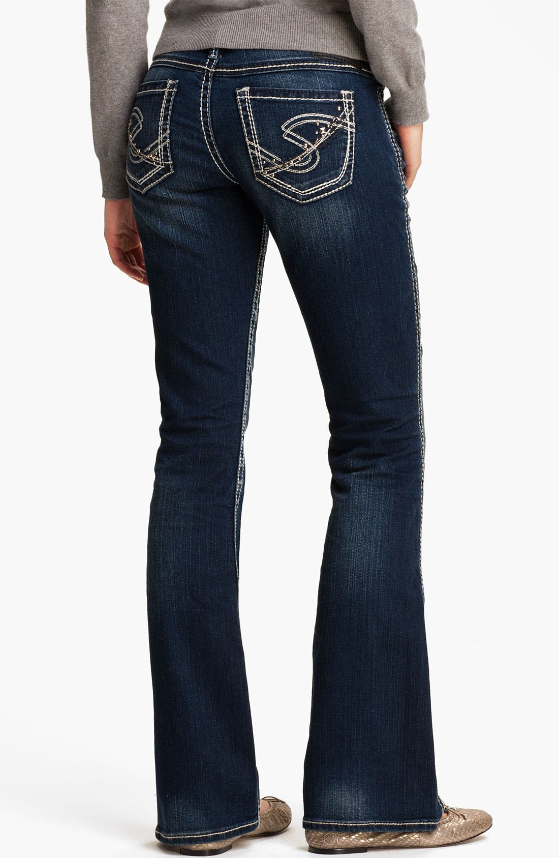 Alternate Image 1 Selected - Silver Jeans Co. 'Twisted' Bootcut Jeans (Juniors)