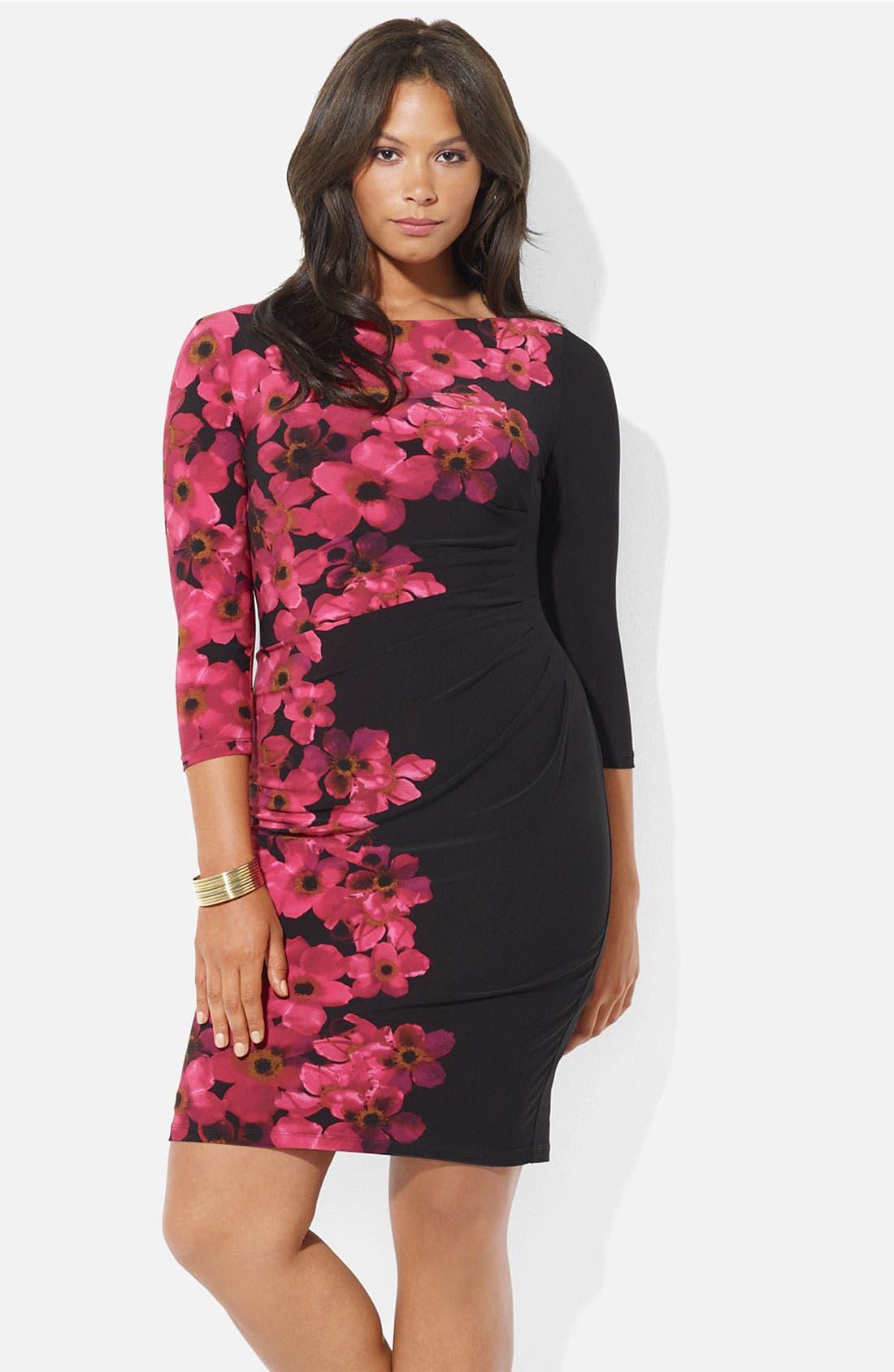 Main Image - Lauren Ralph Lauren Floral Print Matte Jersey Sheath Dress (Plus)