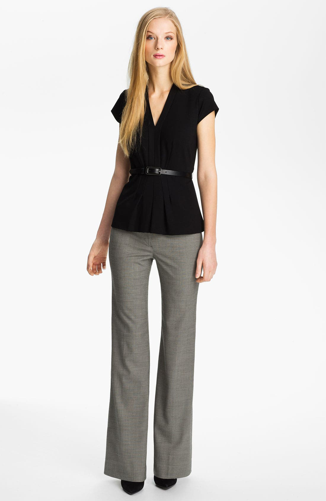 Alternate Image 4  - Classiques Entier® Belted Houndstooth Stretch Wool Pants