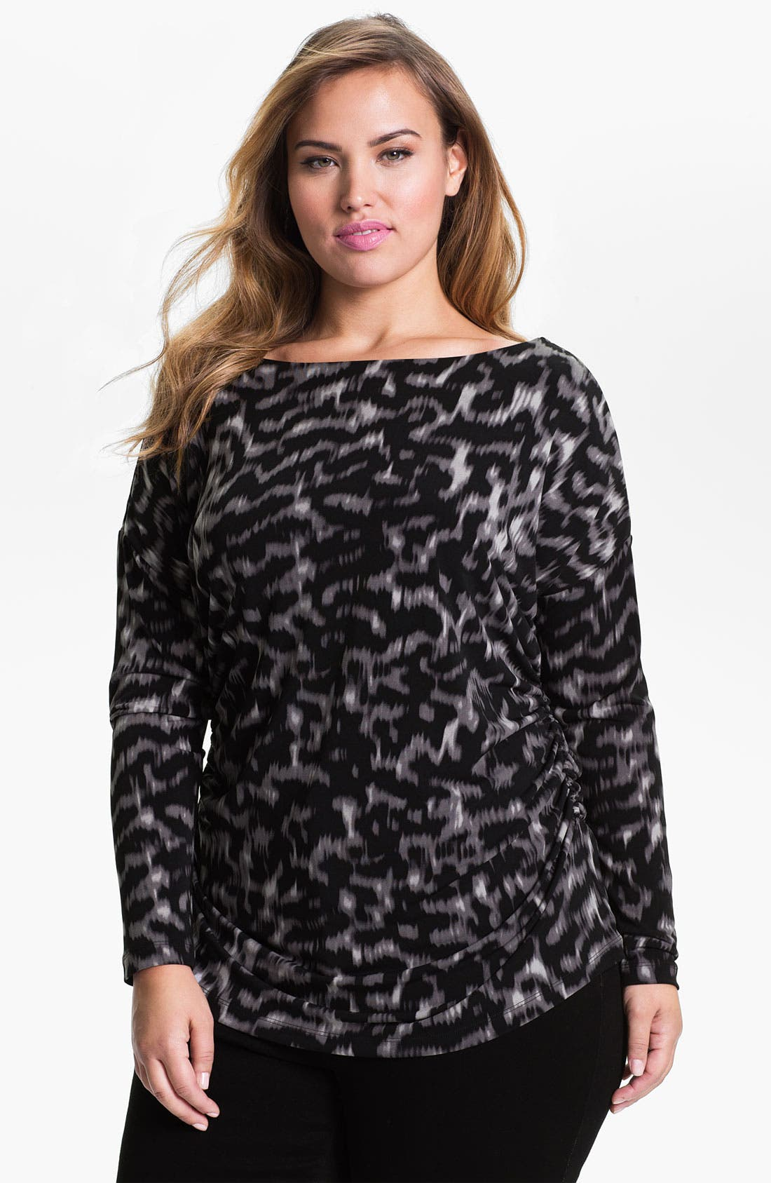Main Image - Vince Camuto 'Exotic Skin' Ruched Top (Plus)