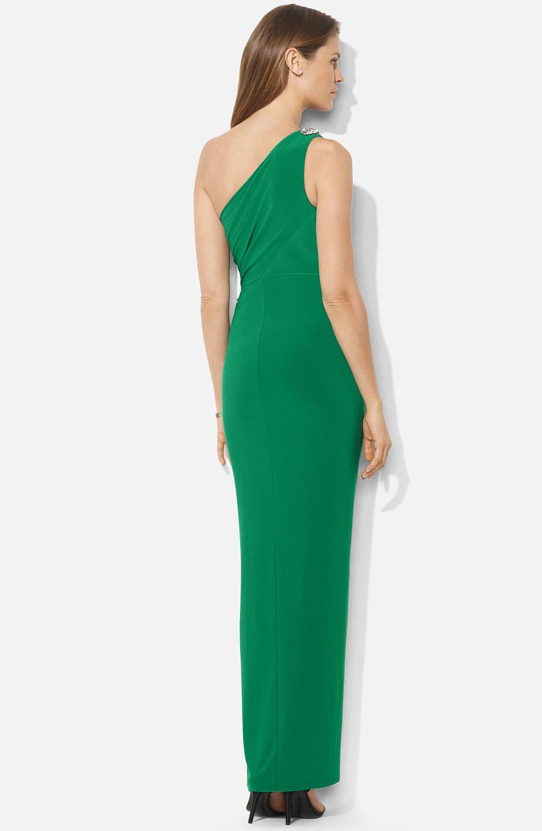 Alternate Image 2  - Lauren Ralph Lauren Embellished One Shoulder Gown