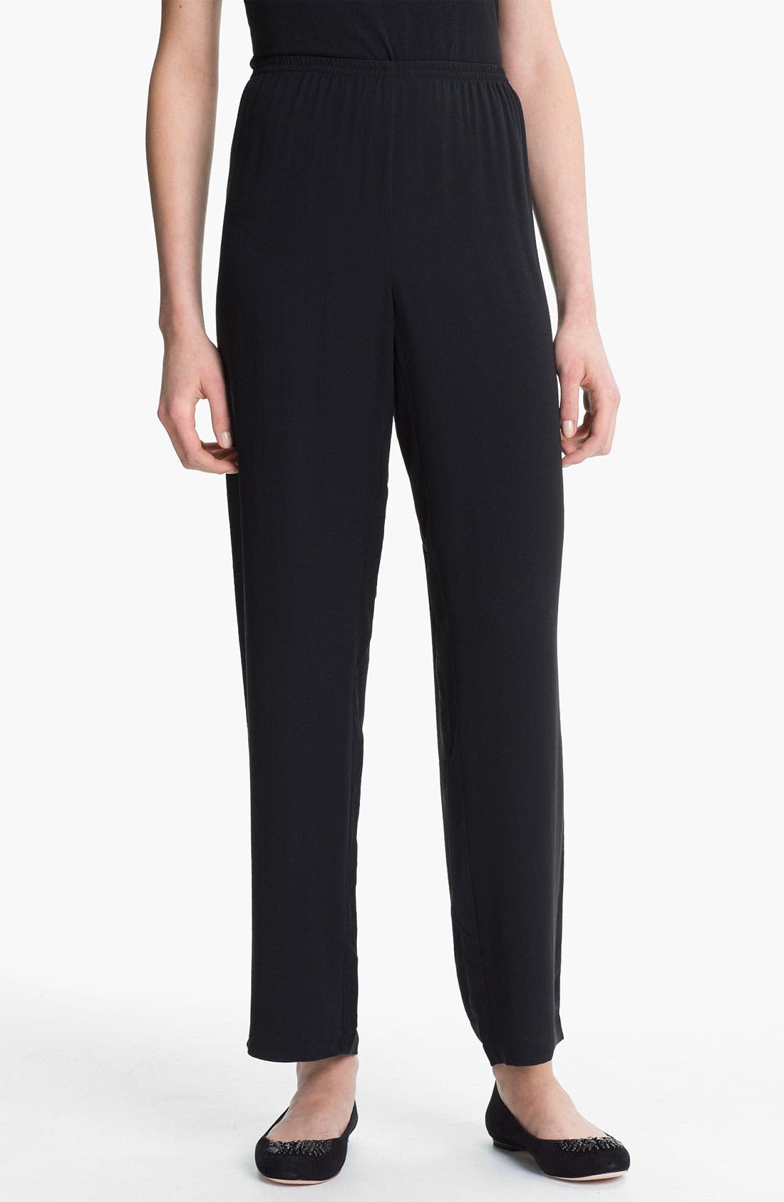 Alternate Image 1 Selected - Eileen Fisher Straight Leg Silk Pants (Online Exclusive)