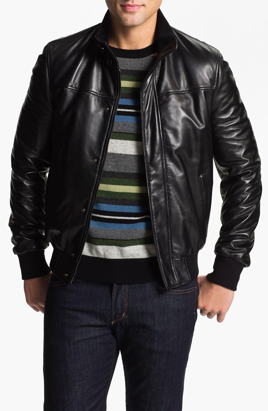 Main Image - Alex & Co. Leather Bomber Jacket