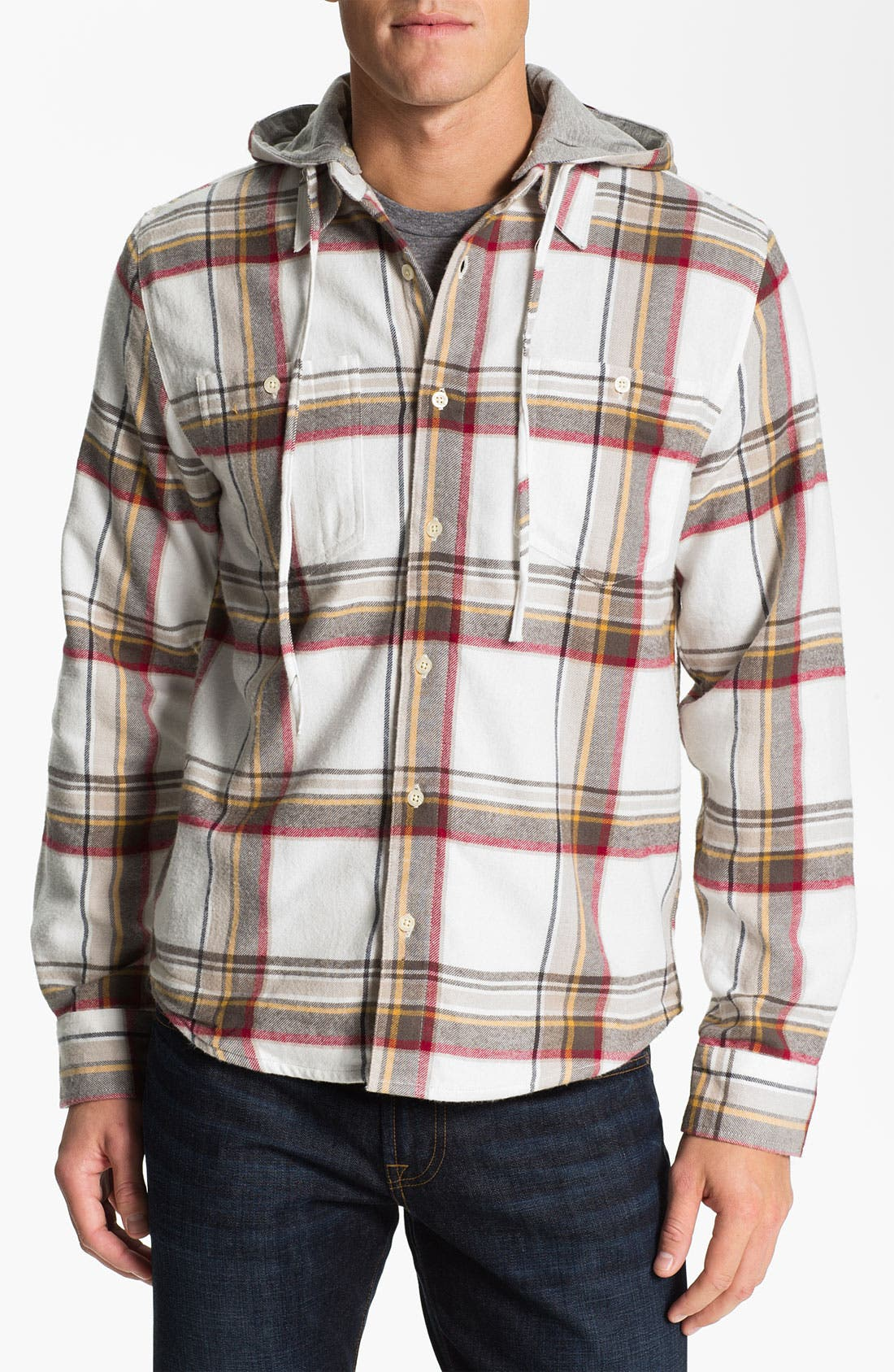 Alternate Image 1 Selected - Threads for Thought Plaid Flannel Shirt with Removable Hood