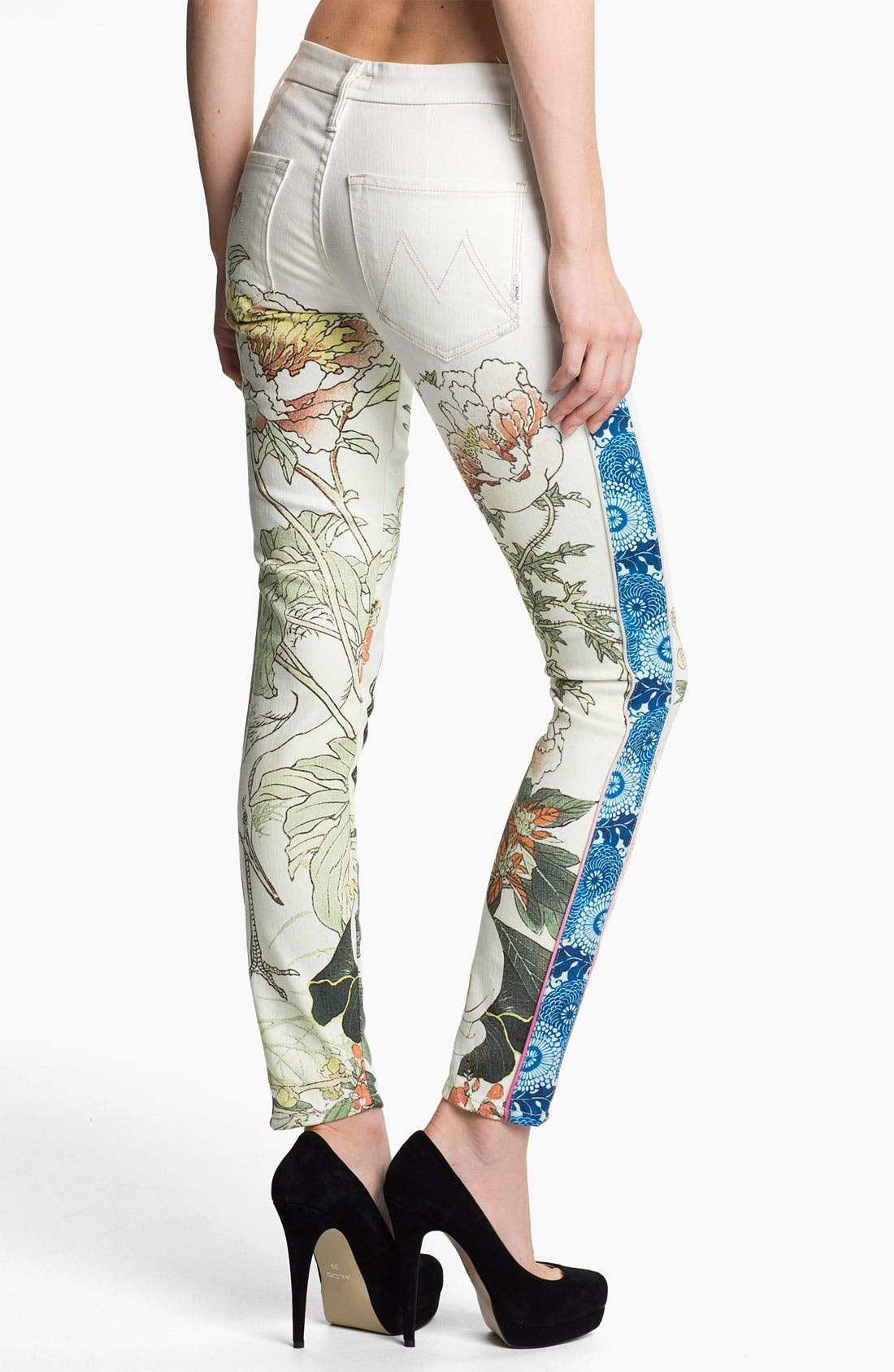 Alternate Image 2  - MOTHER 'The Looker' Mixed Print Skinny Jeans (The Scent of Sake)