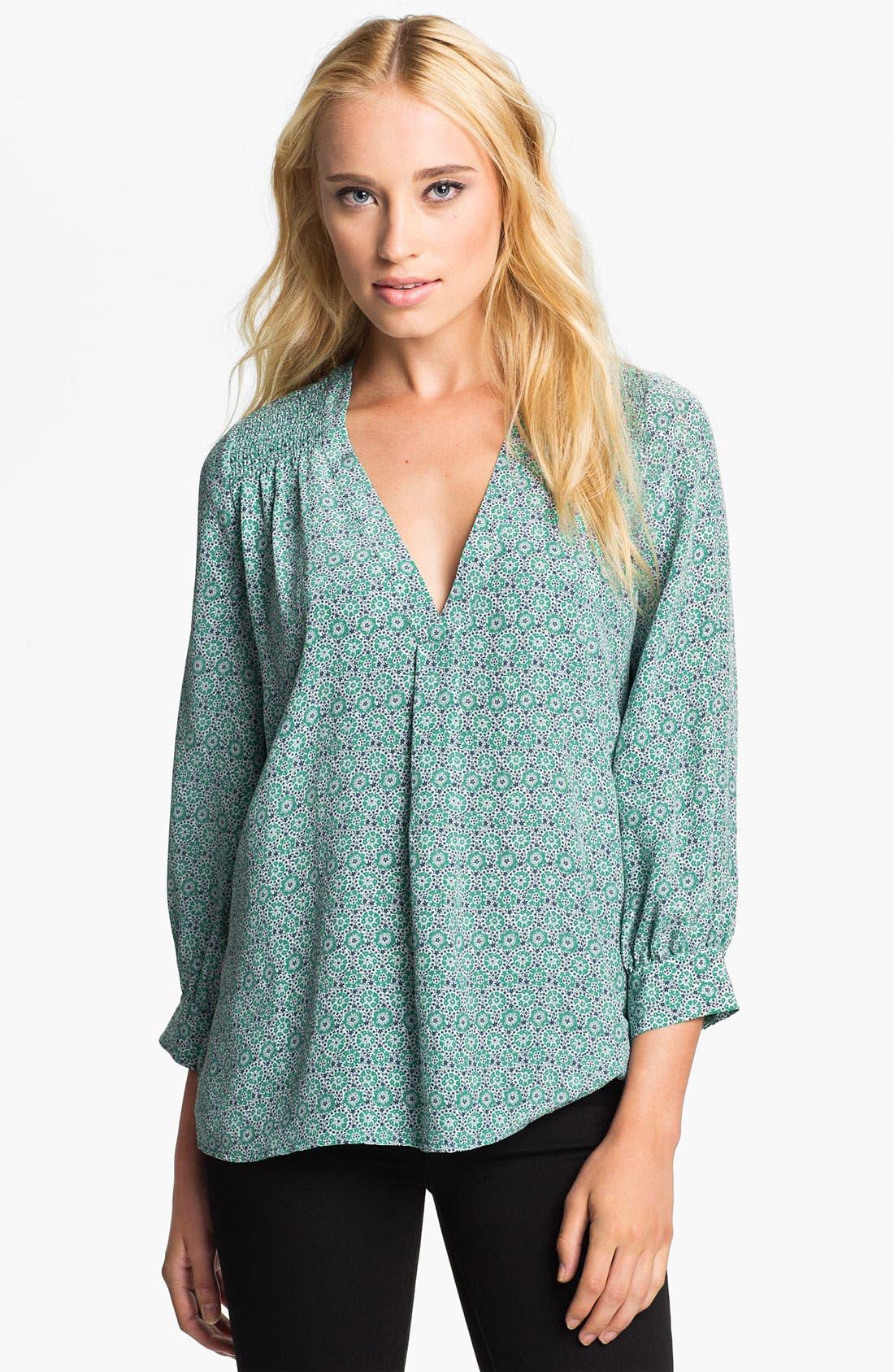 Main Image - Joie 'Aceline' Sheer Print Silk V-Neck Top