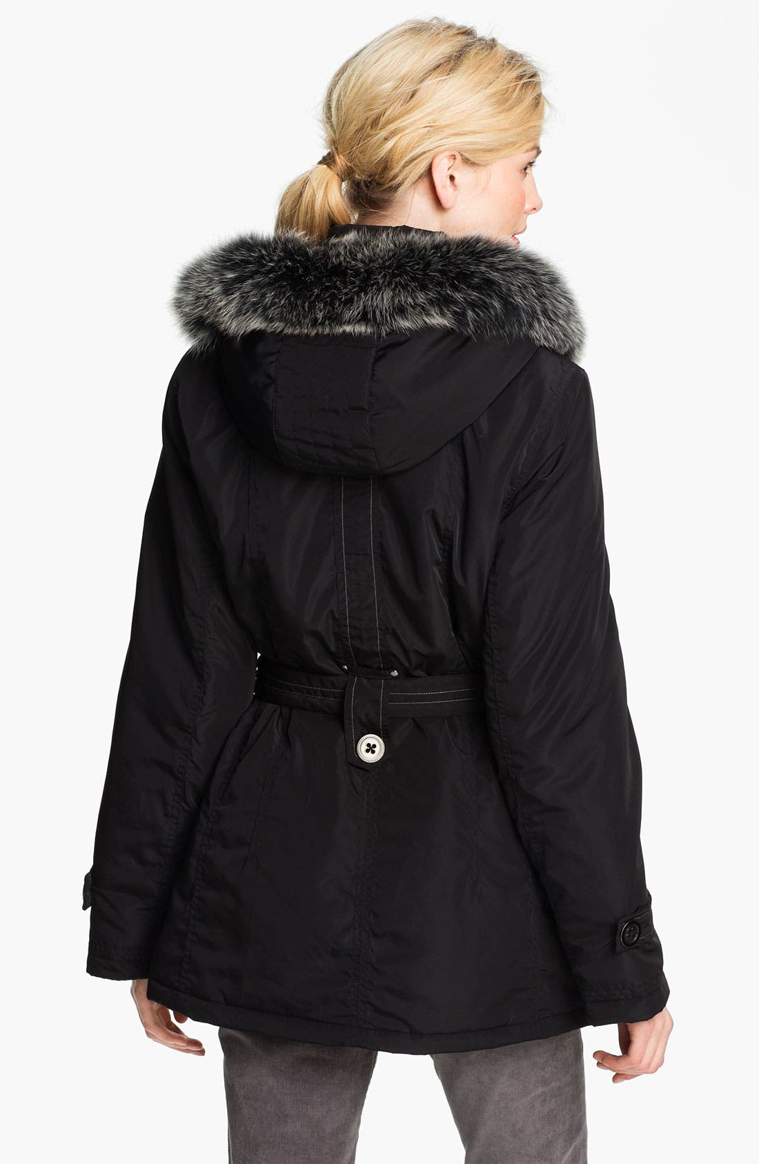Alternate Image 2  - Sachi Belted Parka with Genuine Fox Fur