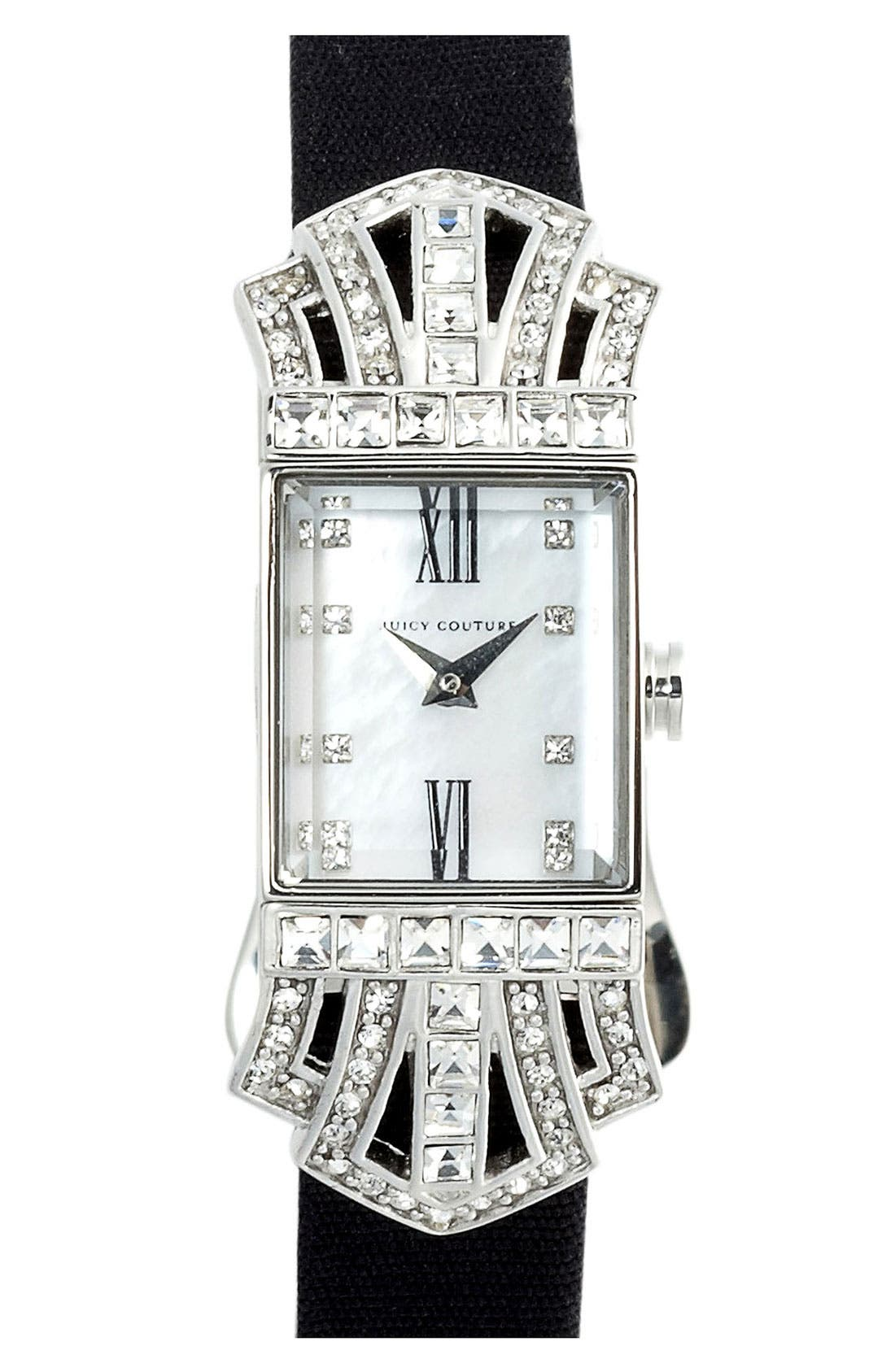 Alternate Image 1 Selected - Juicy Couture 'Marianne' Square Case Grosgrain Strap Watch
