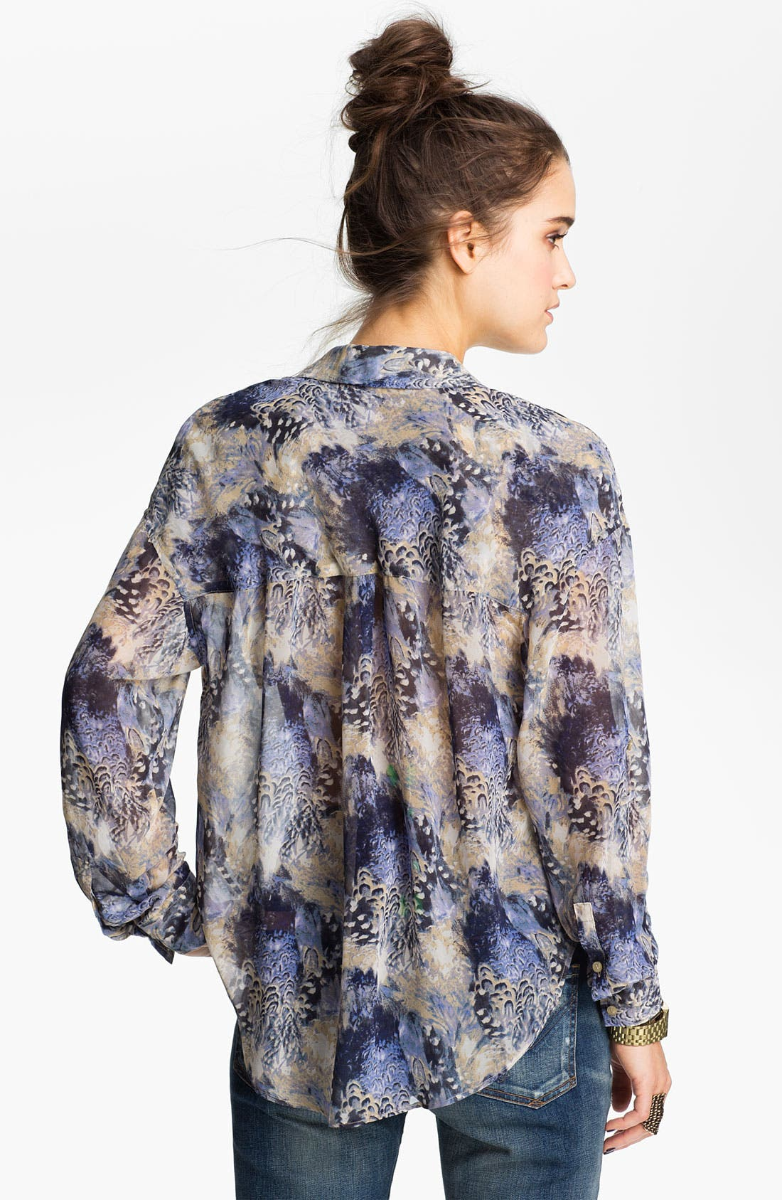 Alternate Image 2  - Free People Feather Print Chiffon Shirt