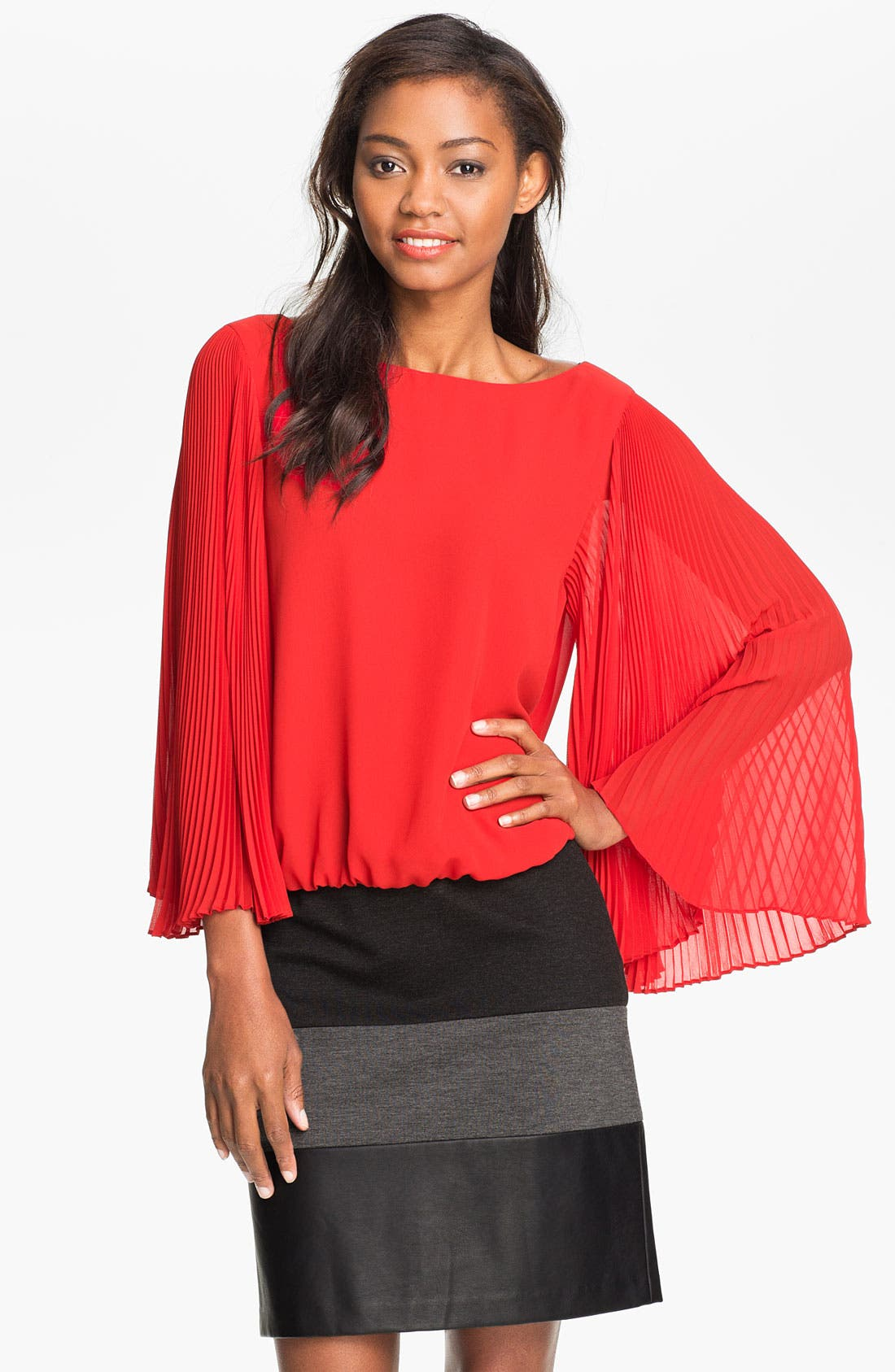 Alternate Image 1 Selected - Vince Camuto Pleated Sleeve Blouse