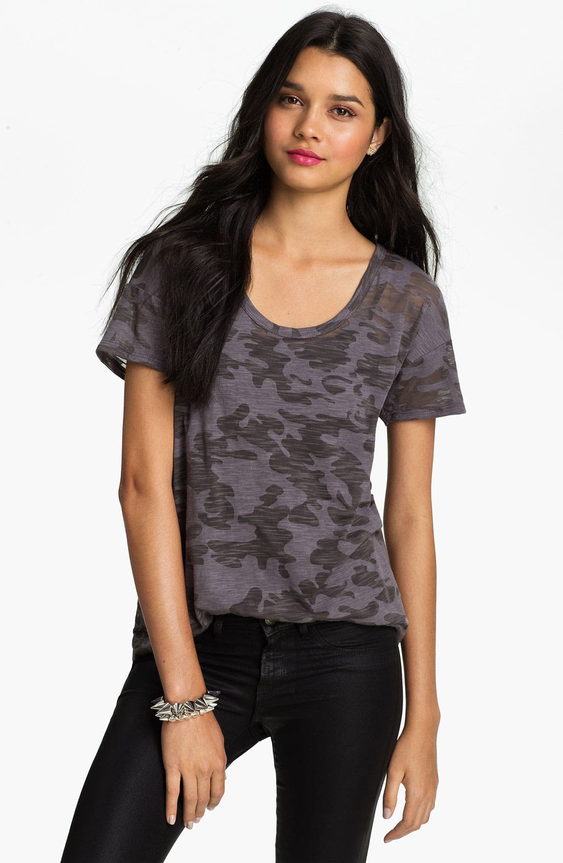 Alternate Image 1 Selected - Lush Clothing Camo Print Boyfriend Tee (Juniors)