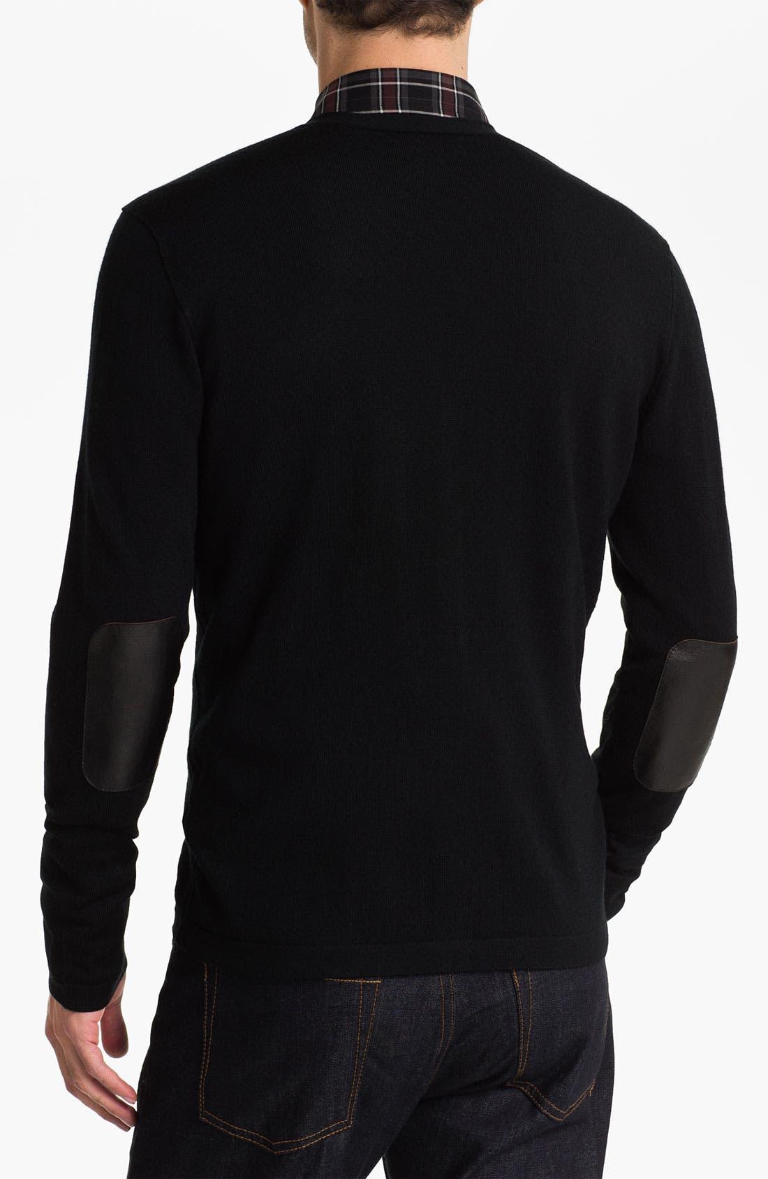 Alternate Image 2  - John Varvatos Star USA Leather Trim Cardigan