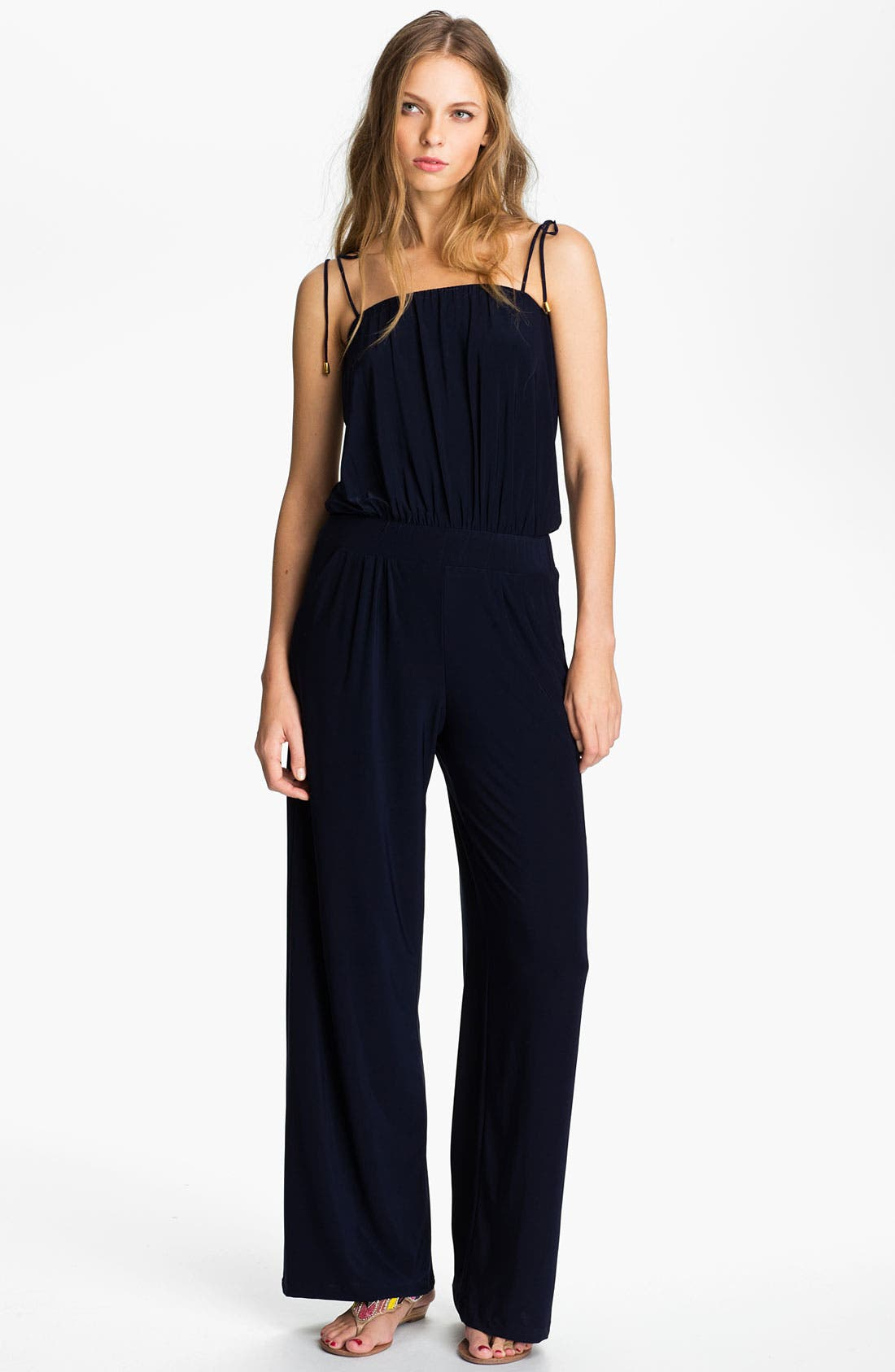Main Image - Tbags Los Angeles Tie Shoulder Jersey Jumpsuit