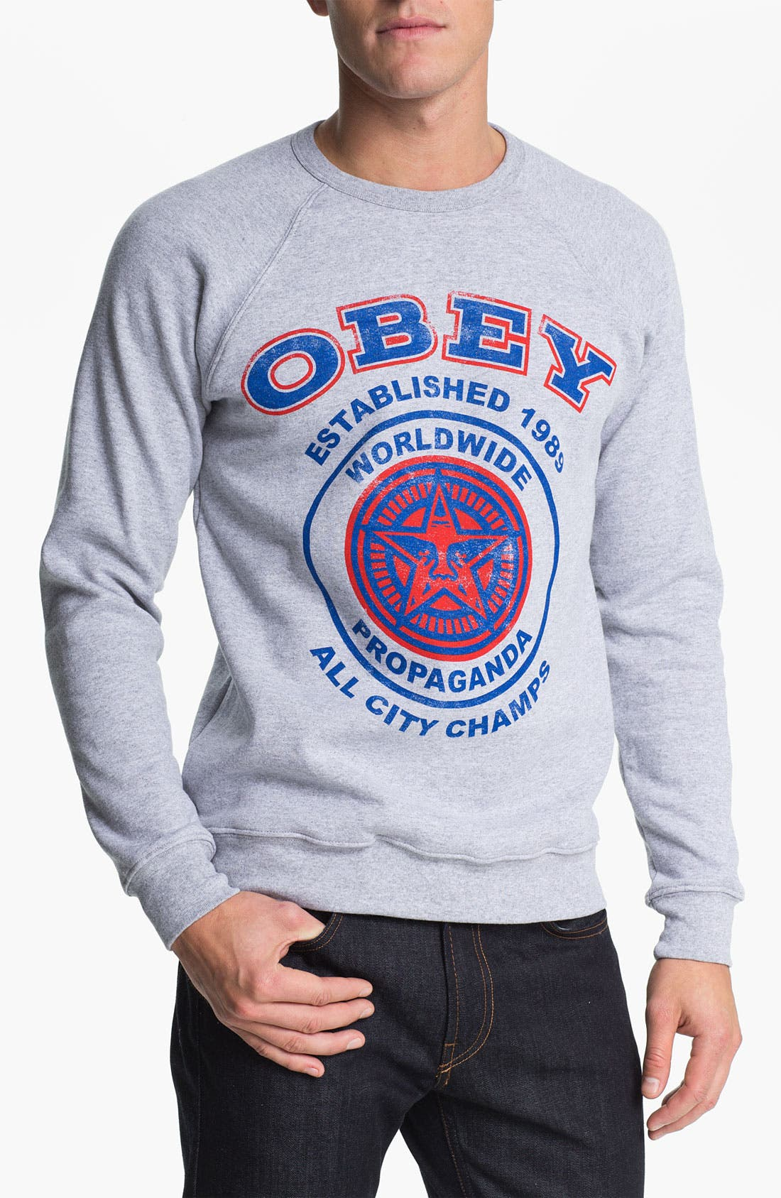 Alternate Image 1 Selected - Obey 'All City Champs' Graphic Crewneck Sweatshirt