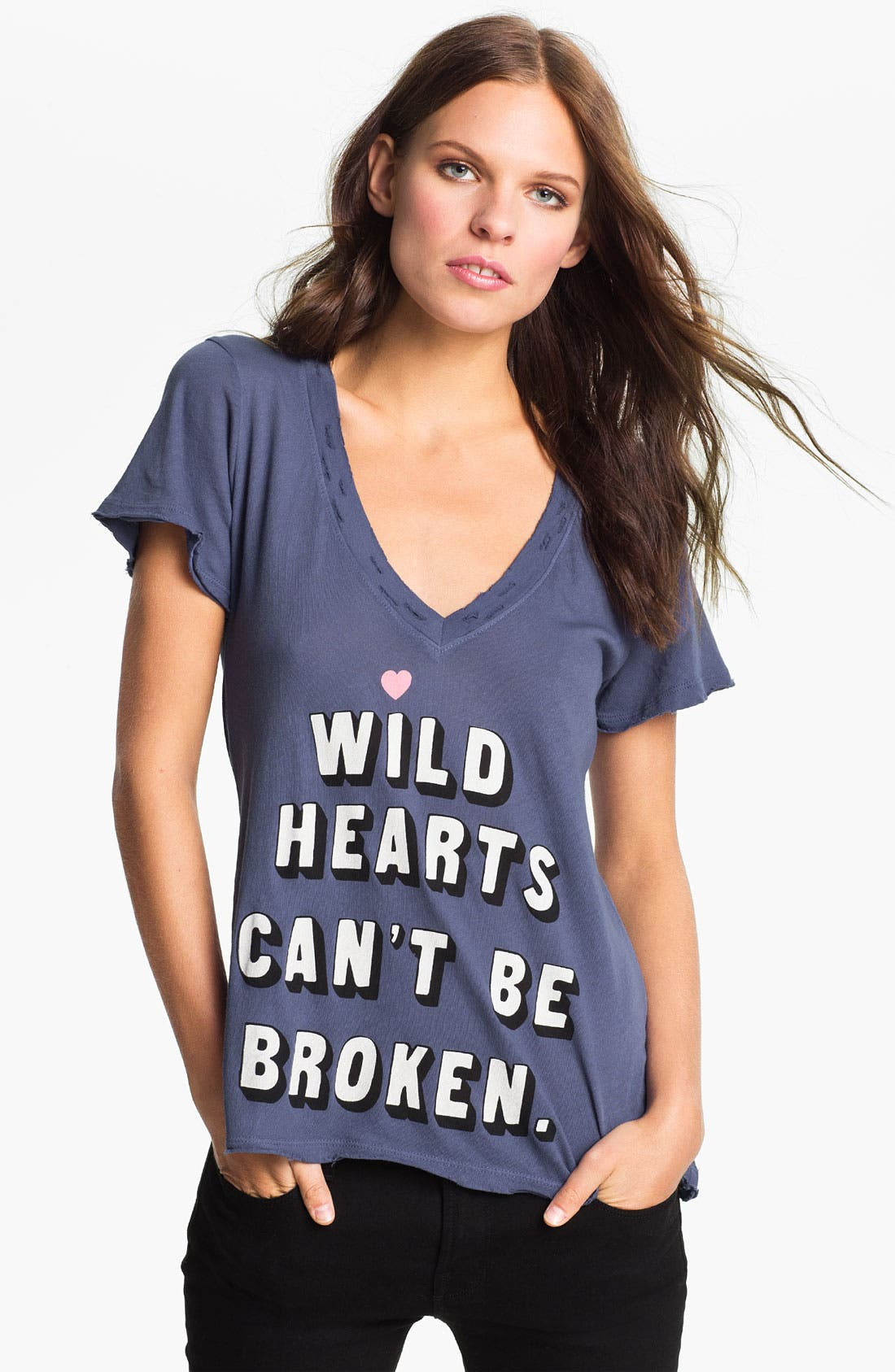 Alternate Image 1 Selected - Wildfox 'Wild Hearts' Graphic Deep V-Neck Tee