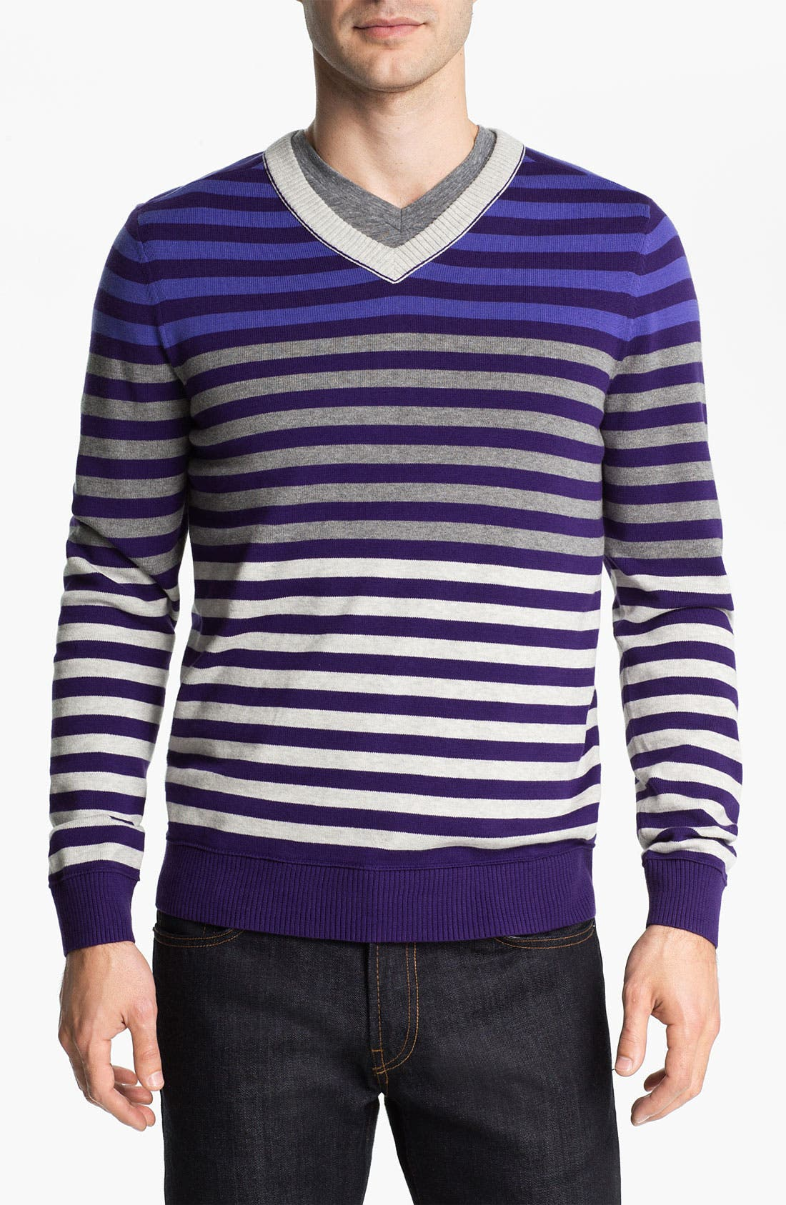 Alternate Image 1 Selected - Public Opinion Stripe V-Neck Sweater