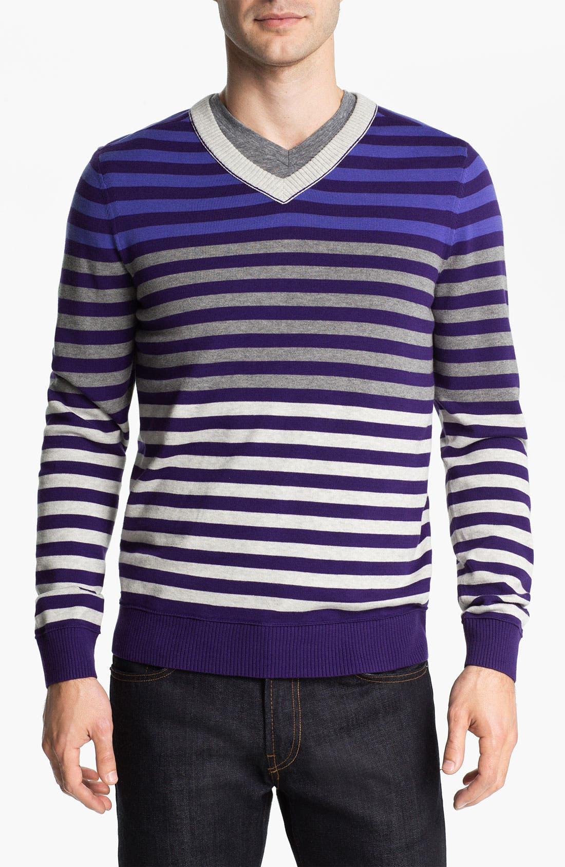 Main Image - Public Opinion Stripe V-Neck Sweater