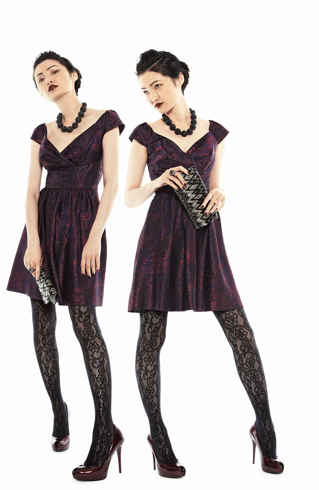 Alternate Image 4  - Suzi Chin for Maggy Boutique Cap Sleeve Brocade Fit & Flare Dress