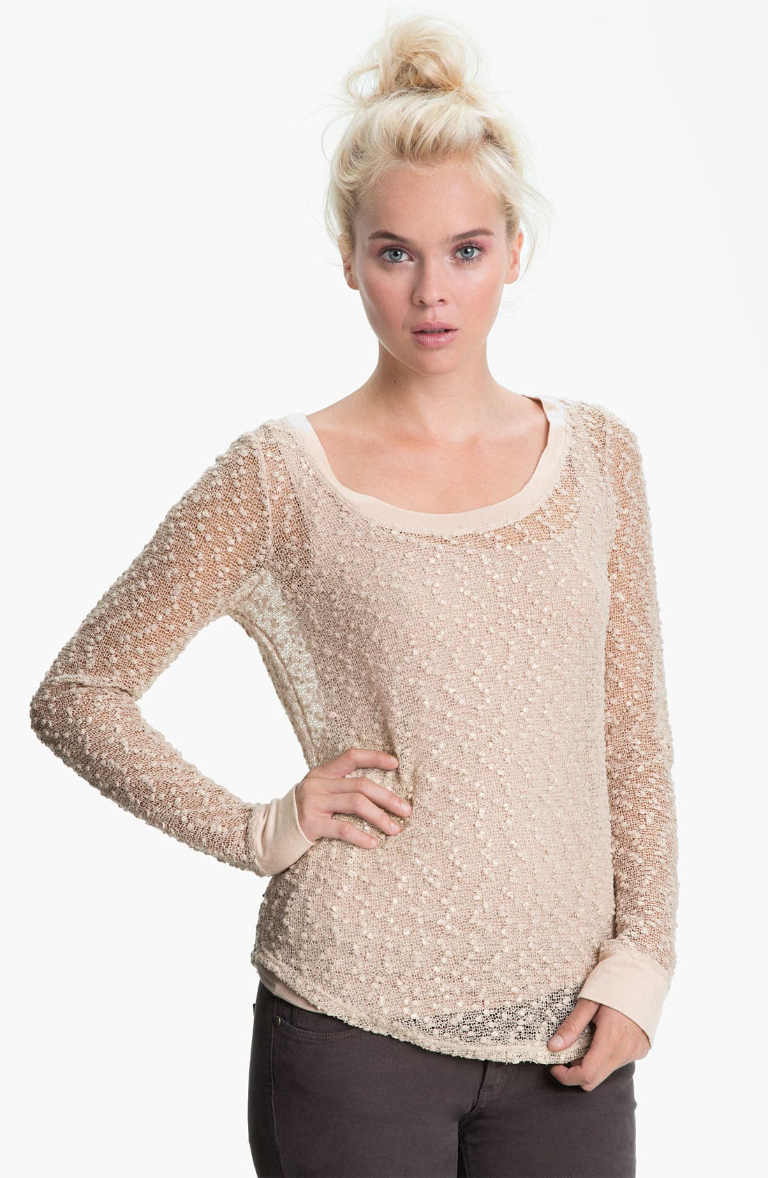Main Image - Sanctuary 'Buddha' Sheer Metallic Bouclé Top