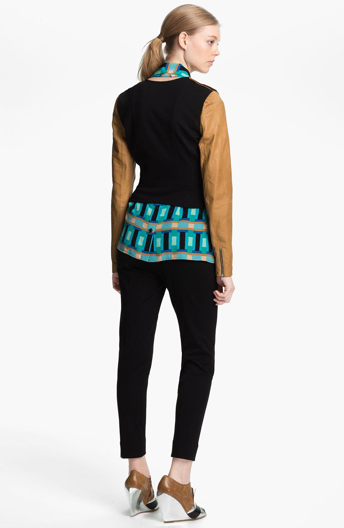Alternate Image 3  - Tracy Reese Leather Sleeve Ponte Knit Jacket
