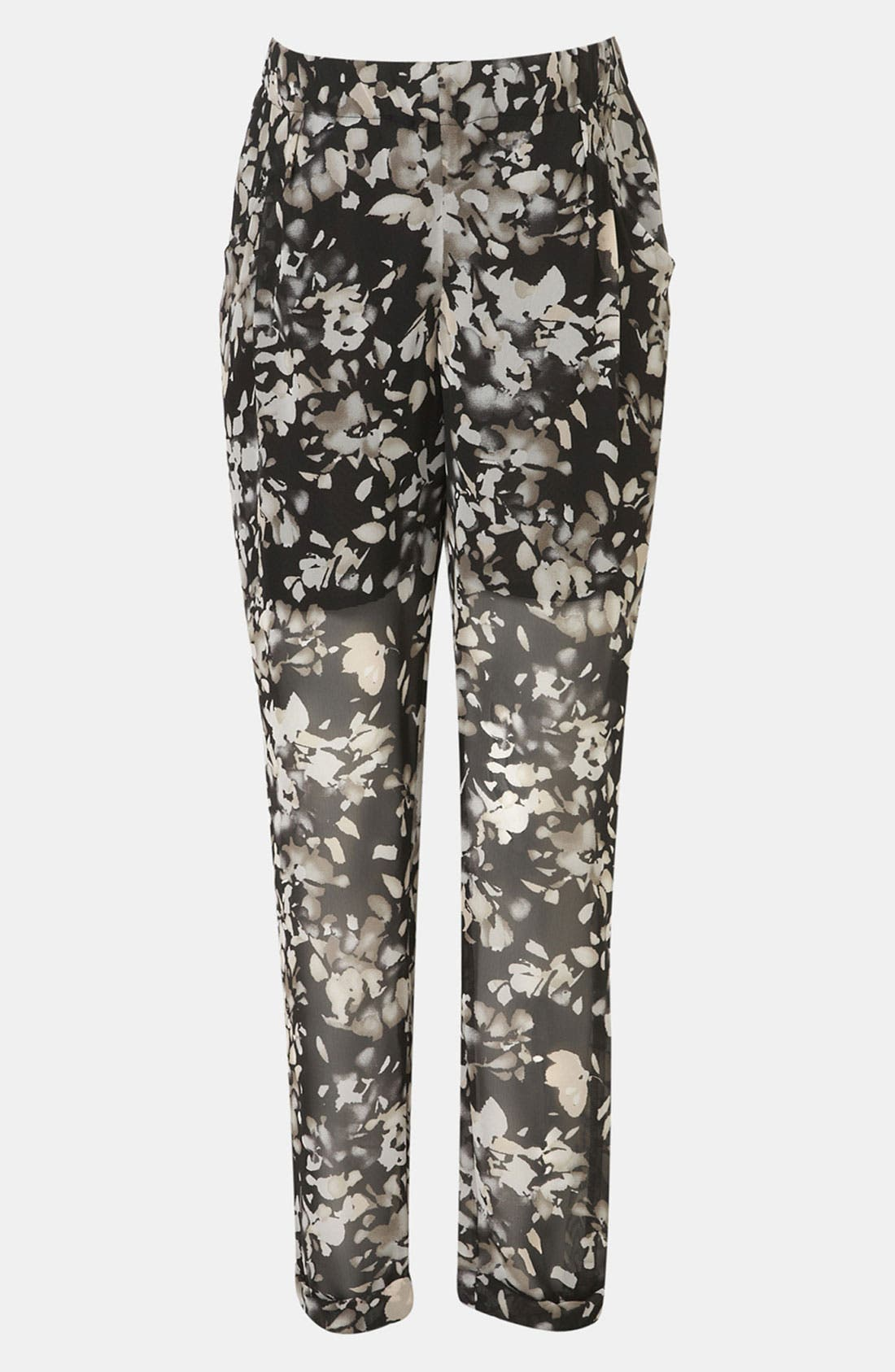 Main Image - Topshop 'Shadow Floral' Sheer Chiffon Maternity Trousers
