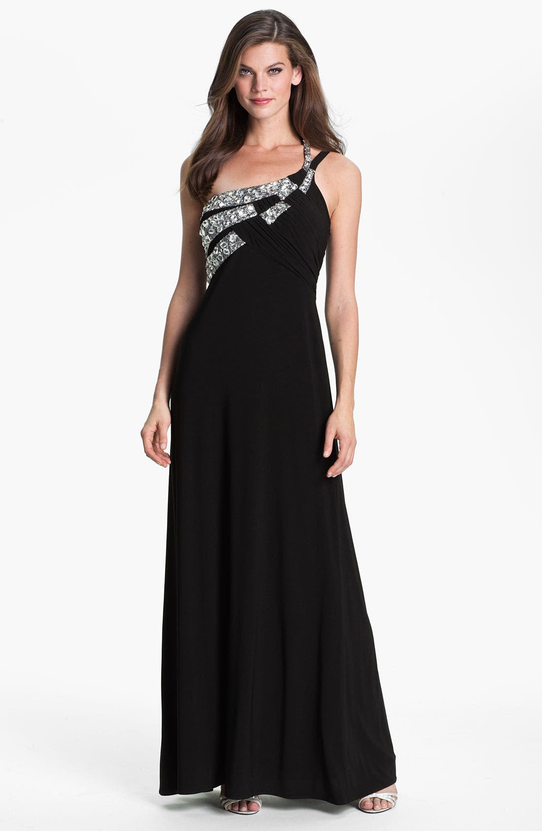 Main Image - Hailey by Adrianna Papell One Shoulder Embellished Trim Jersey Gown