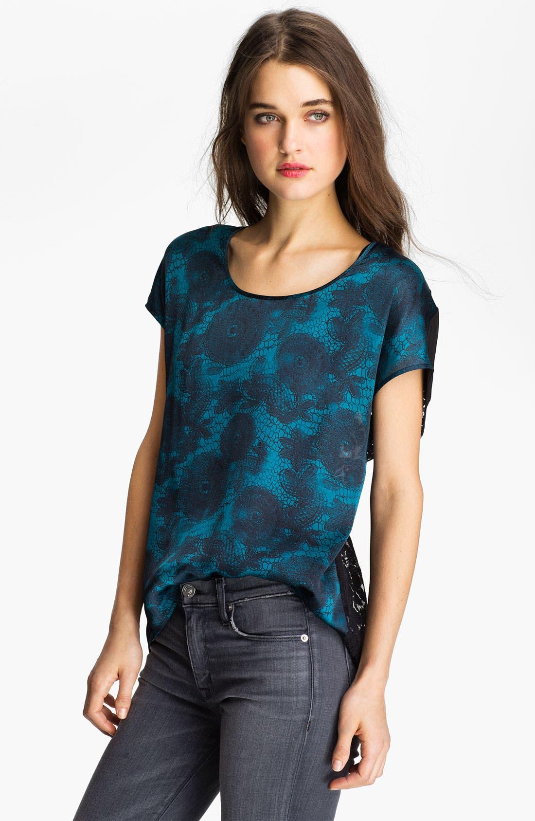 Main Image - Hinge® Mixed Media Lace Top