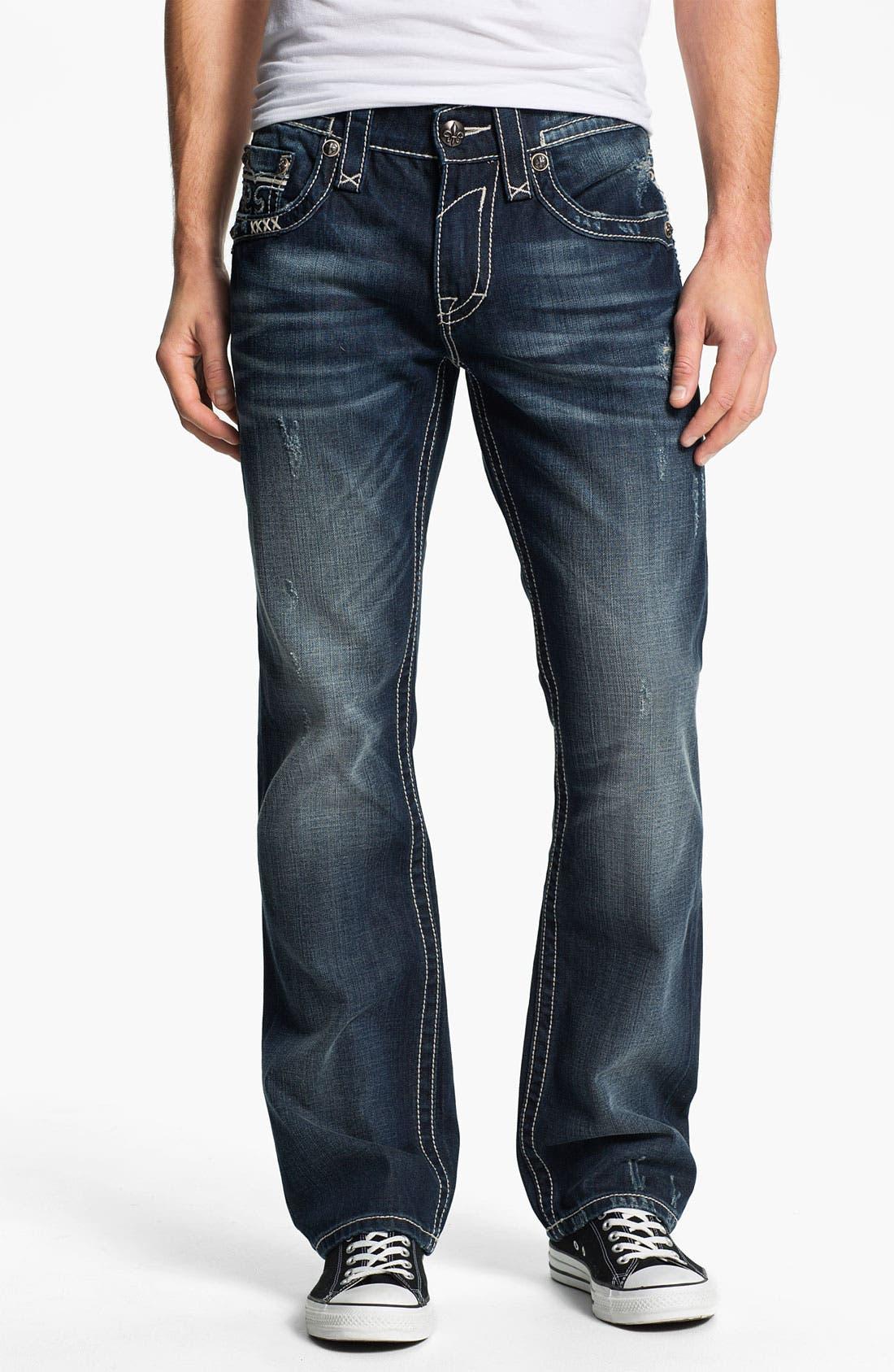 Alternate Image 2  - Rock Revival 'Sebastian' Bootcut Jeans (Dark Blue)
