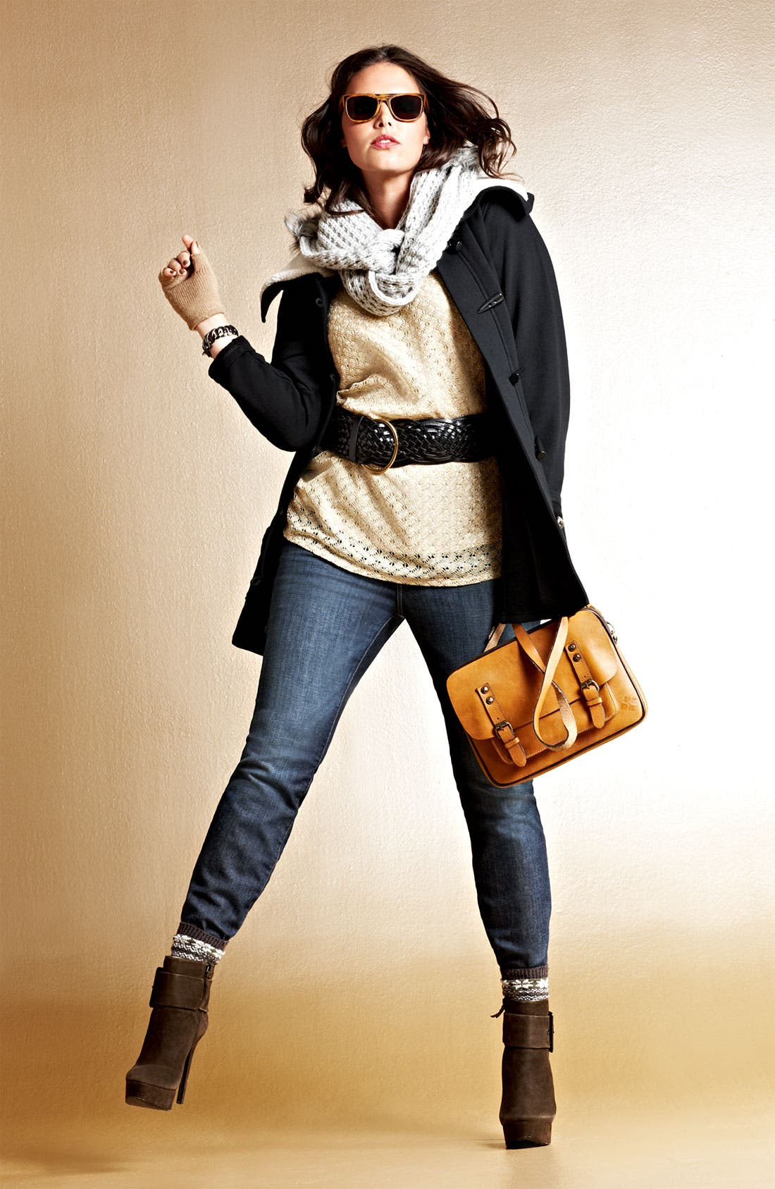 Alternate Image 8  - Sejour Fleece Collar French Terry Jacket (Plus)
