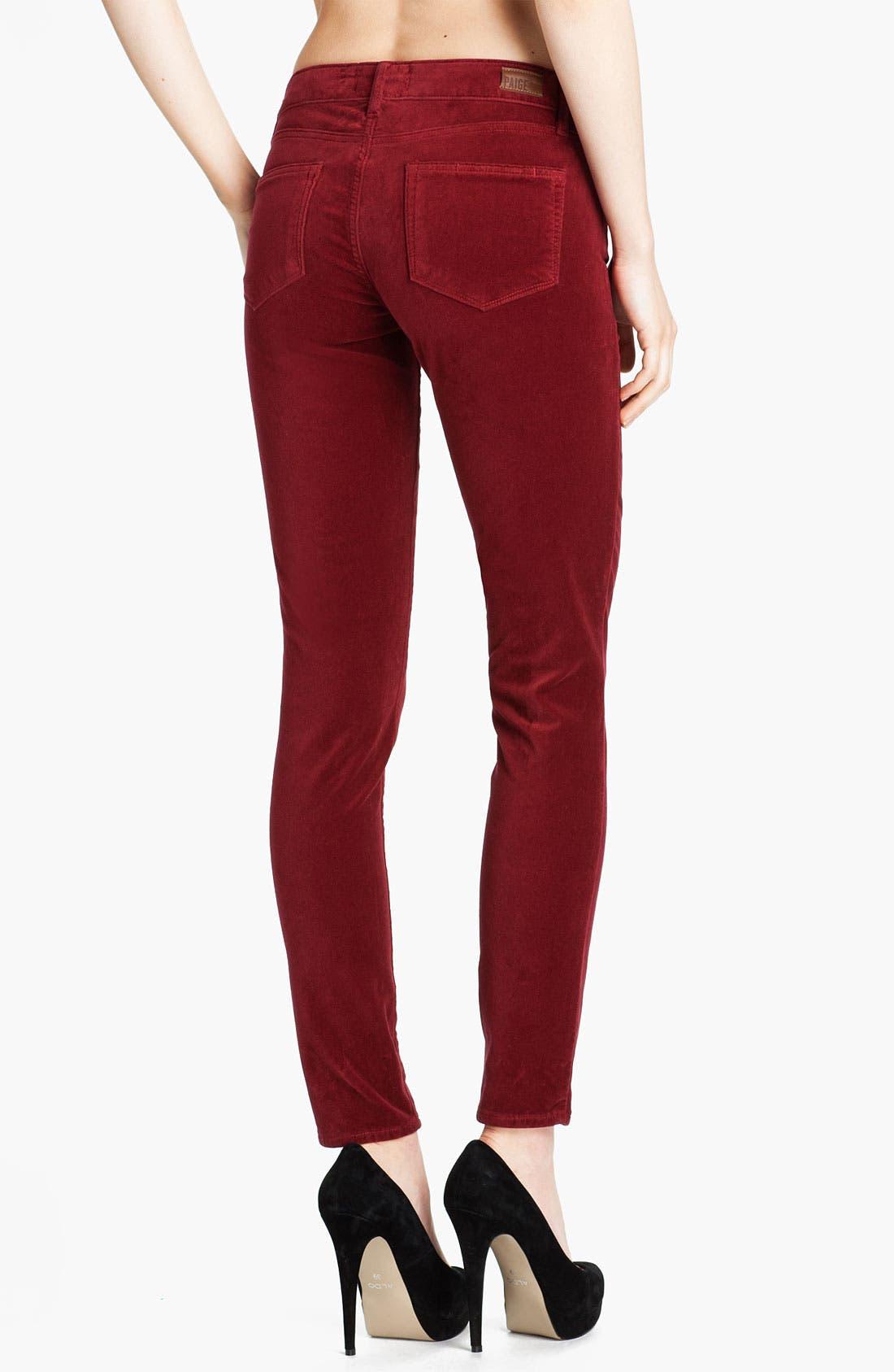 Alternate Image 2  - Paige Denim 'Verdugo' Stretch Velvet Skinny Pants (Lava)