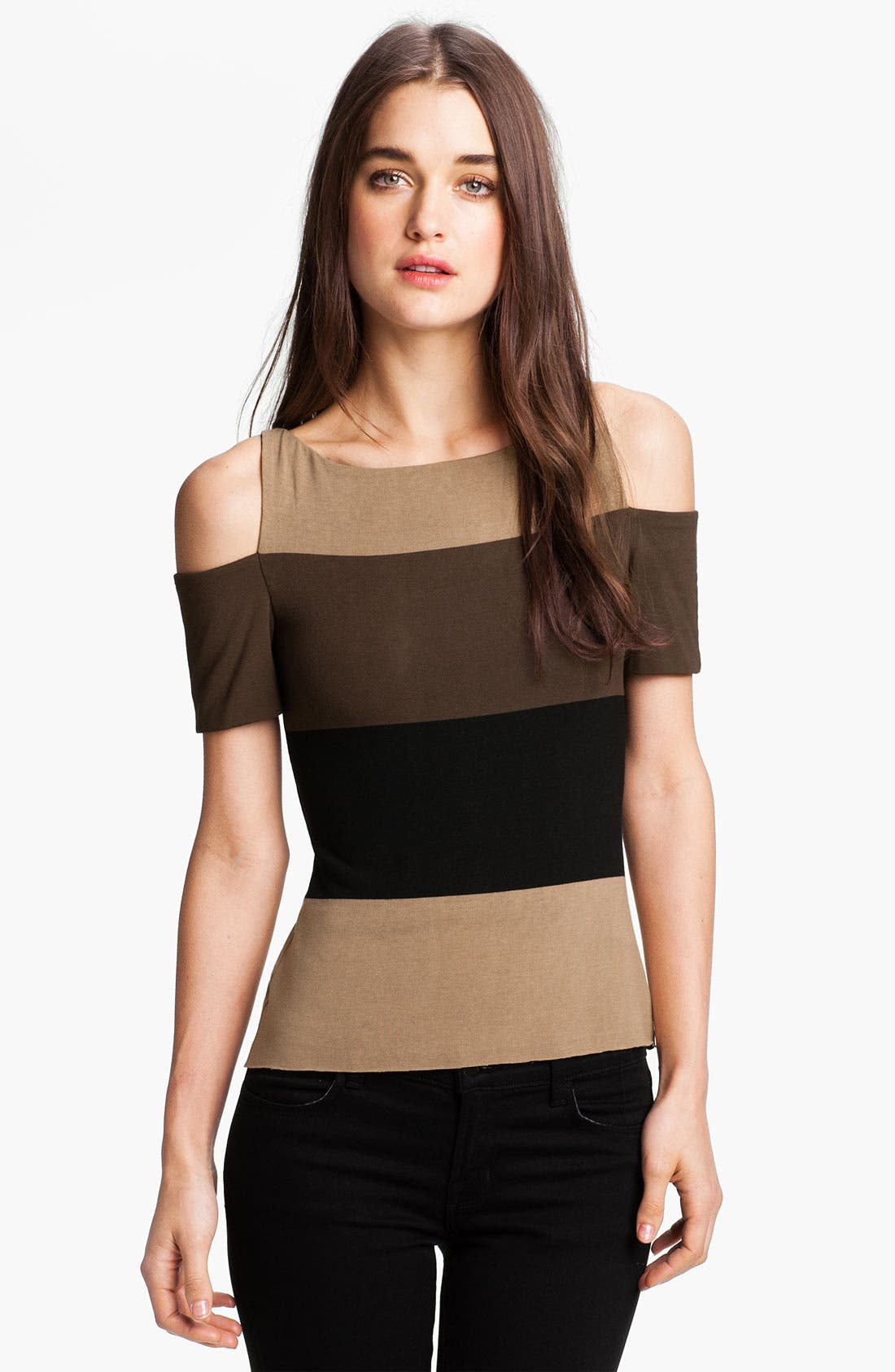 Alternate Image 1 Selected - Bailey 44 Stripe Cutout Shoulder Top