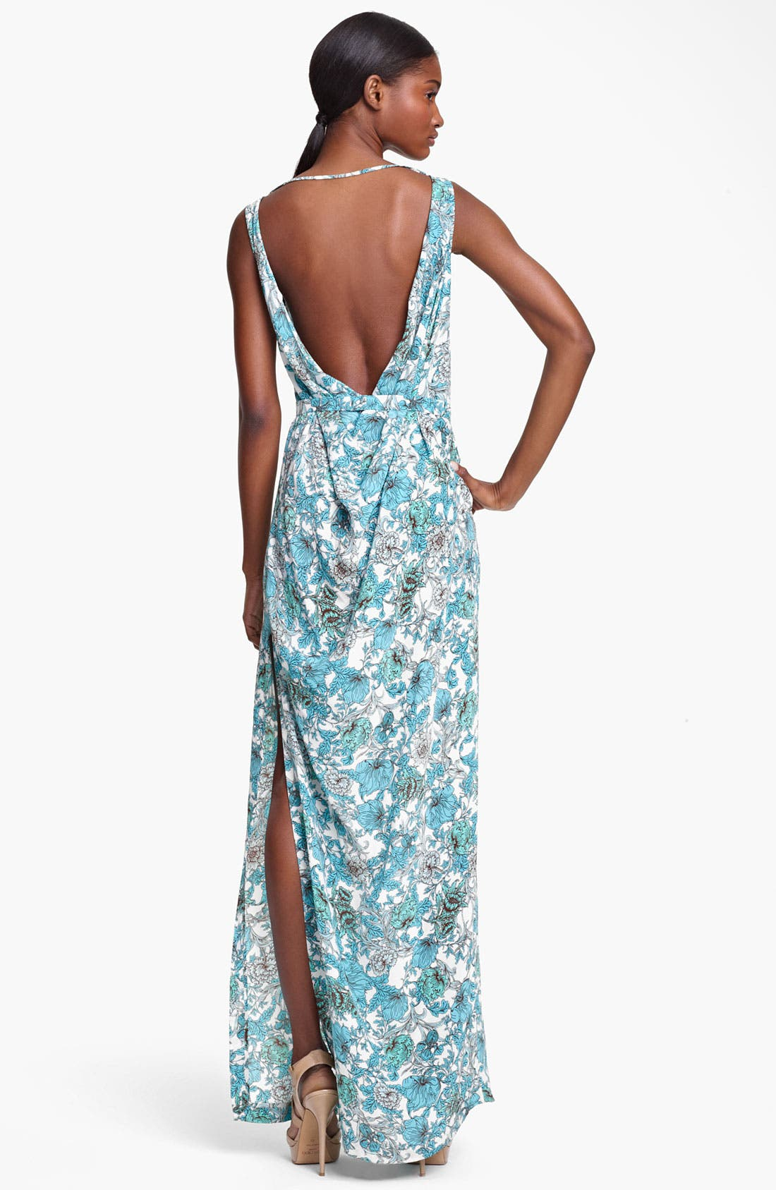 Alternate Image 2  - Thakoon Floral Print Draped Crêpe de Chine Gown