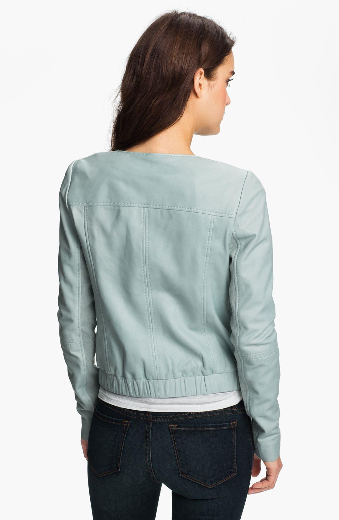 Alternate Image 2  - Trouvé Zip Neck Leather Bomber Jacket