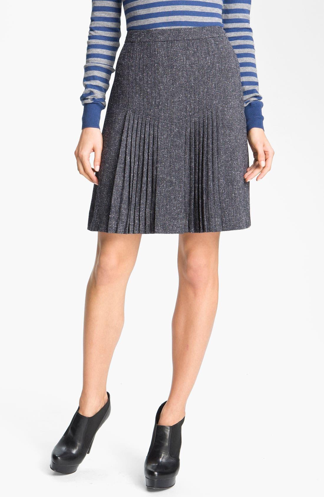 Main Image - Halogen® Pleat Front Tweed Skirt (Petite)