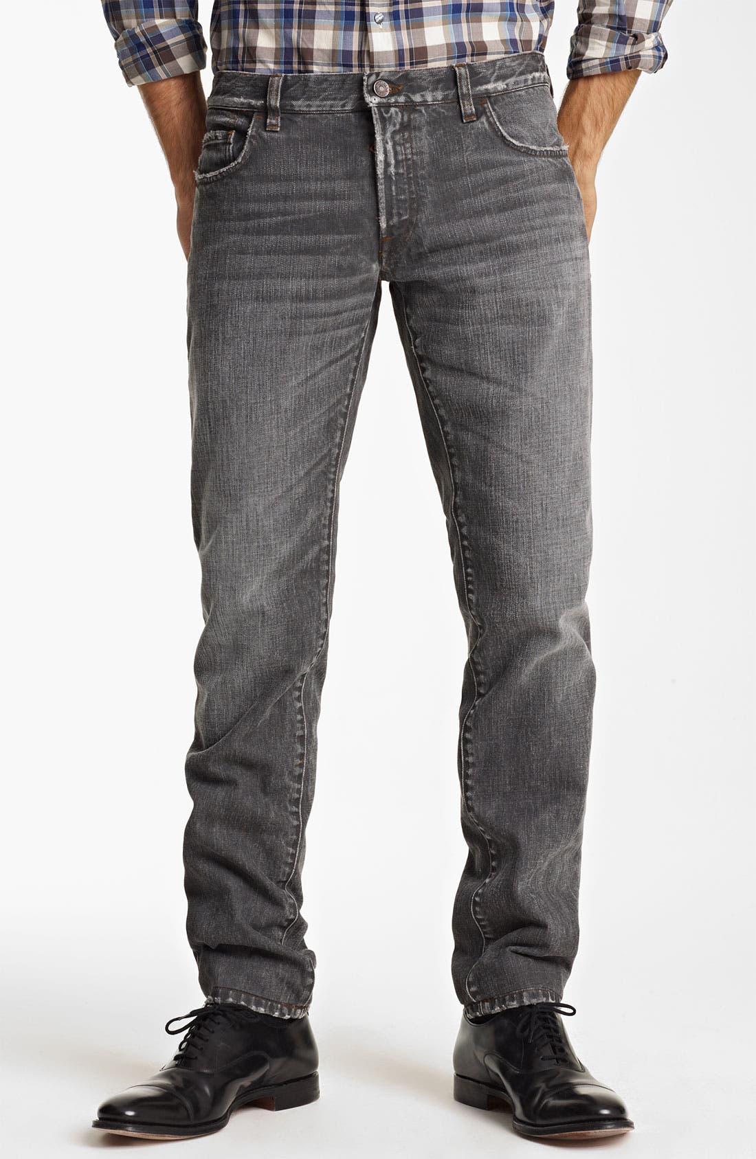 Main Image - Dolce&Gabbana Slim Straight Leg Jeans (Dark Grey)