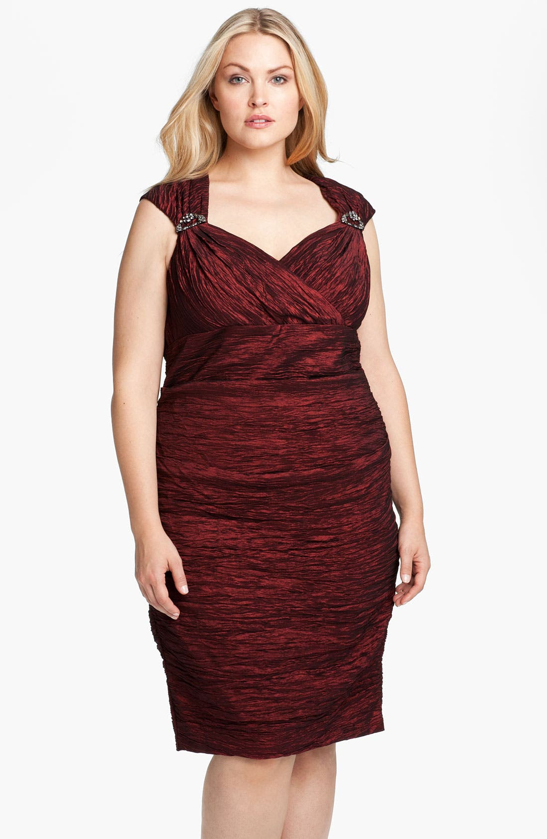 Alternate Image 1 Selected - Alex Evenings Embellished Crinkled Taffeta Sheath Dress (Plus)
