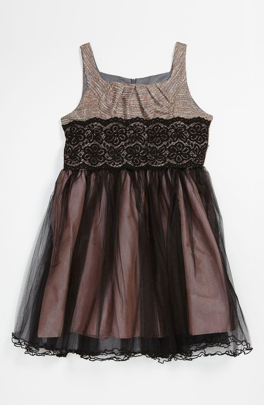 Main Image - Iris & Ivy Tweed & Tulle Dress (Big Girls)
