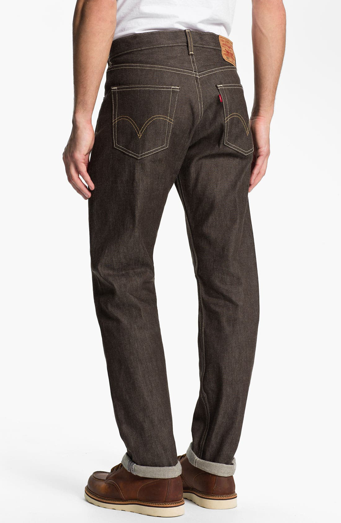 Alternate Image 1 Selected - Levi's® '501®' Shrink-To-Fit Straight Leg Jeans (Brown Rigid)