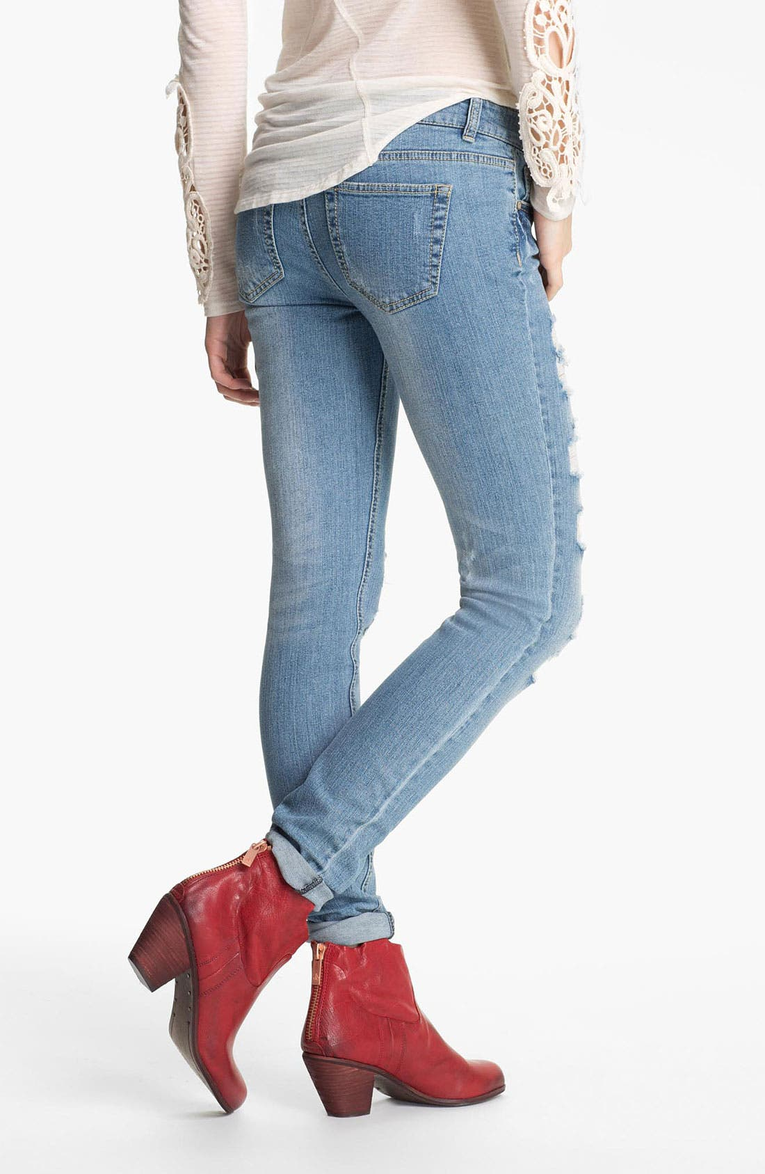 Alternate Image 2  - Fire Destroyed Skinny Jeans (Juniors)
